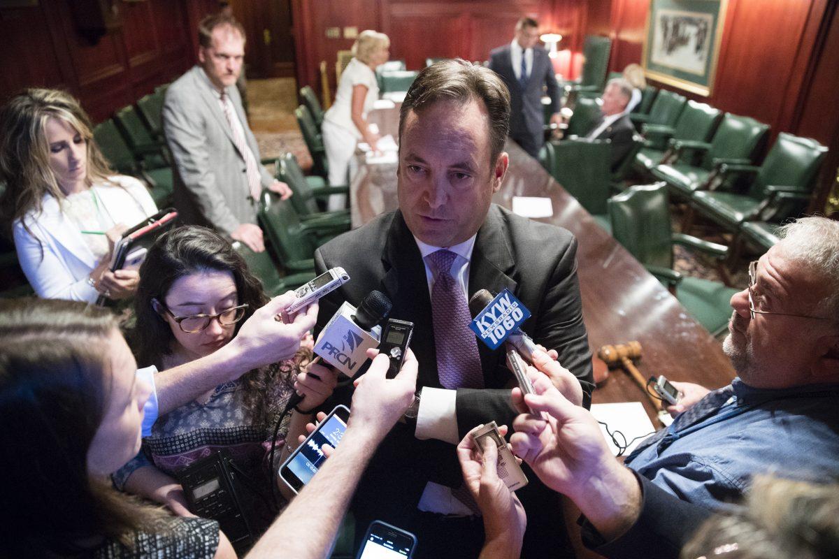 "Senate Majority Leader Jake Corman (R., Centre) said ""sitting at home"" could prolong the budget impasse. (AP Photo/Matt Rourke)"