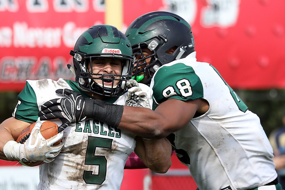 West Deptford seniors Jake Paratore (No. 5) and Jason Collier (No. 88) celebrate during 51-0 win over St. Joseph.