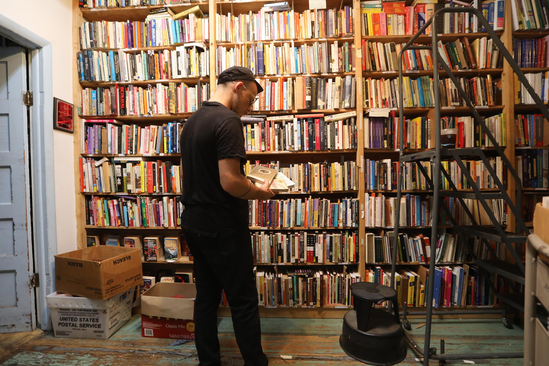 Keir Neuringer at the Books Through Bars offie in West Philadelphia.
