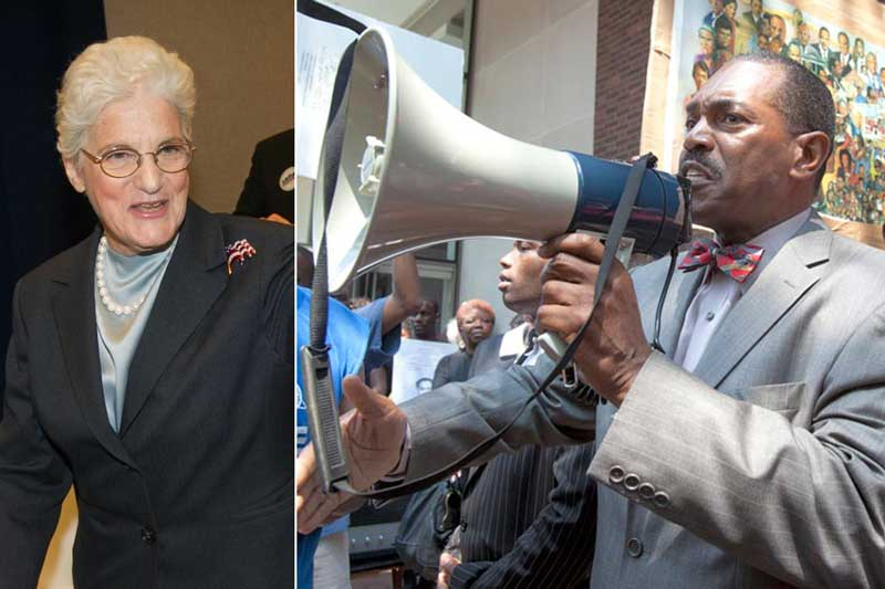 Former DA Lynne Abraham (left) and NAACP Rodney Mohammed.