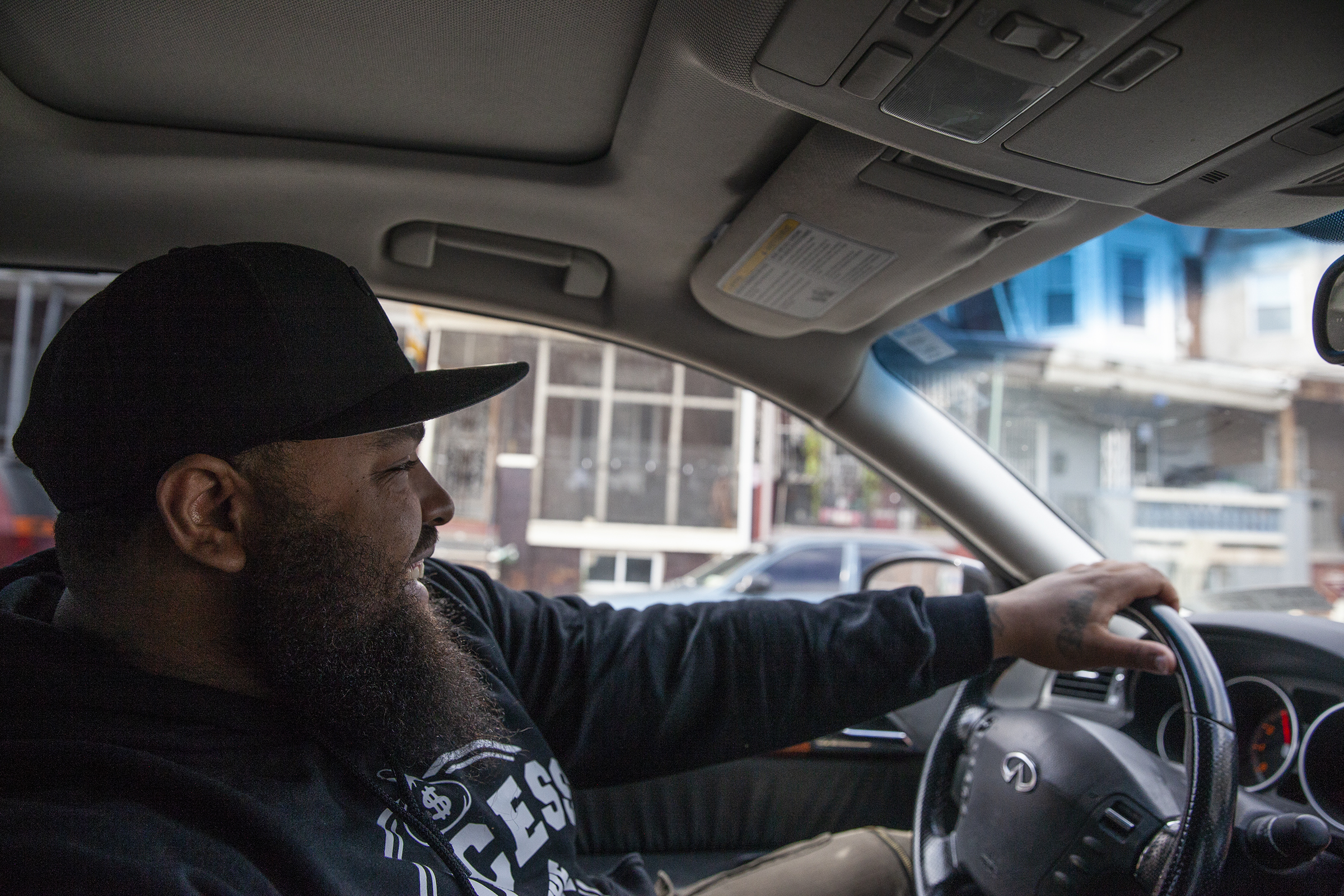 Julian Williams, known by his rap name Gunjin, drives to Hunting Park in North Philadelphia to film his next Instagram rap video, called Blackklansmen, on Tuesday, Oct. 09, 2018. Williams said the video was inspired by the story of Nat Turner.