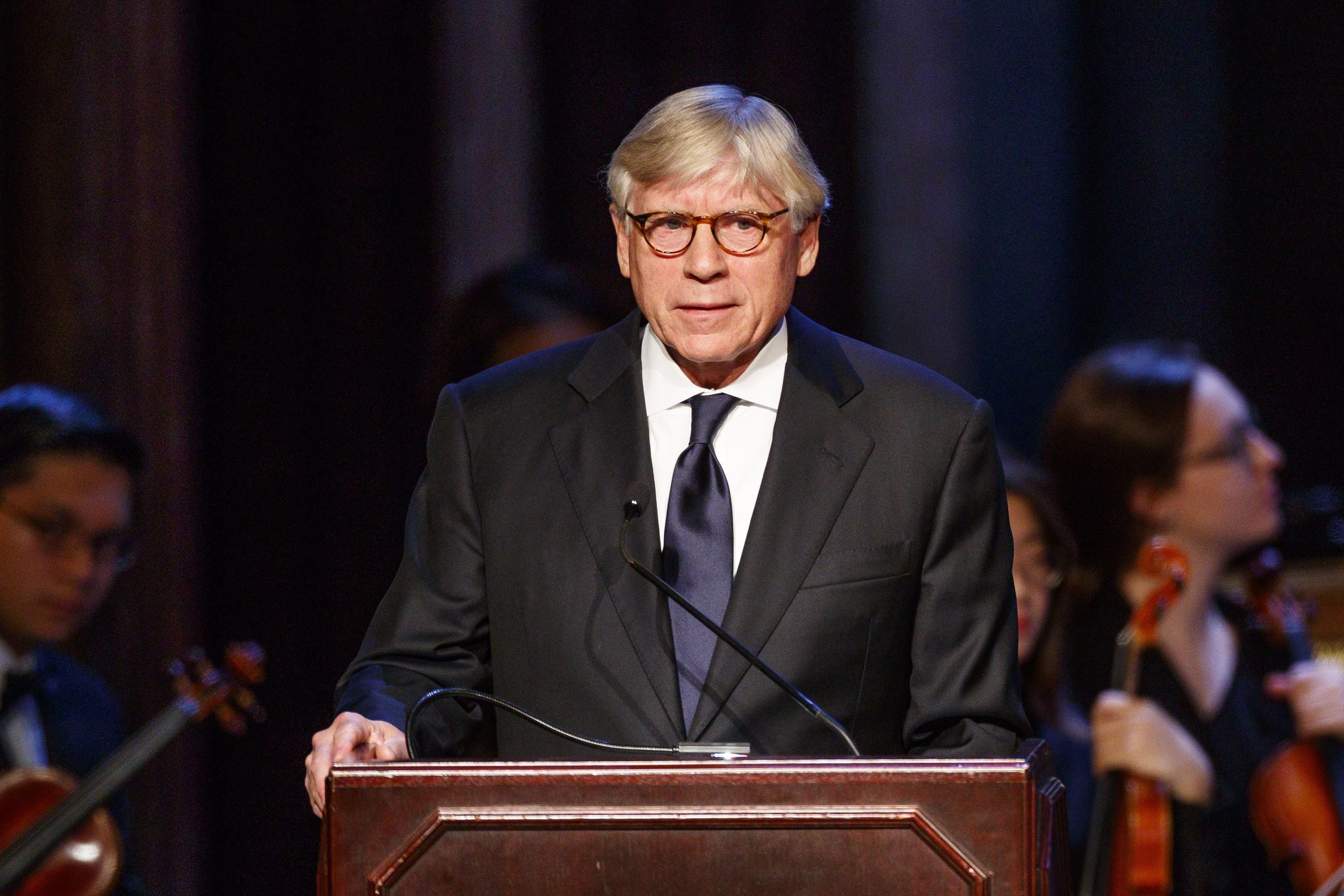 Lee Bollinger, President of Columbia University, speaks of the many gifts that Gerry Lenfest gave to the University during the memorial held at the Academy of Music on Octoebr 17, 2018.