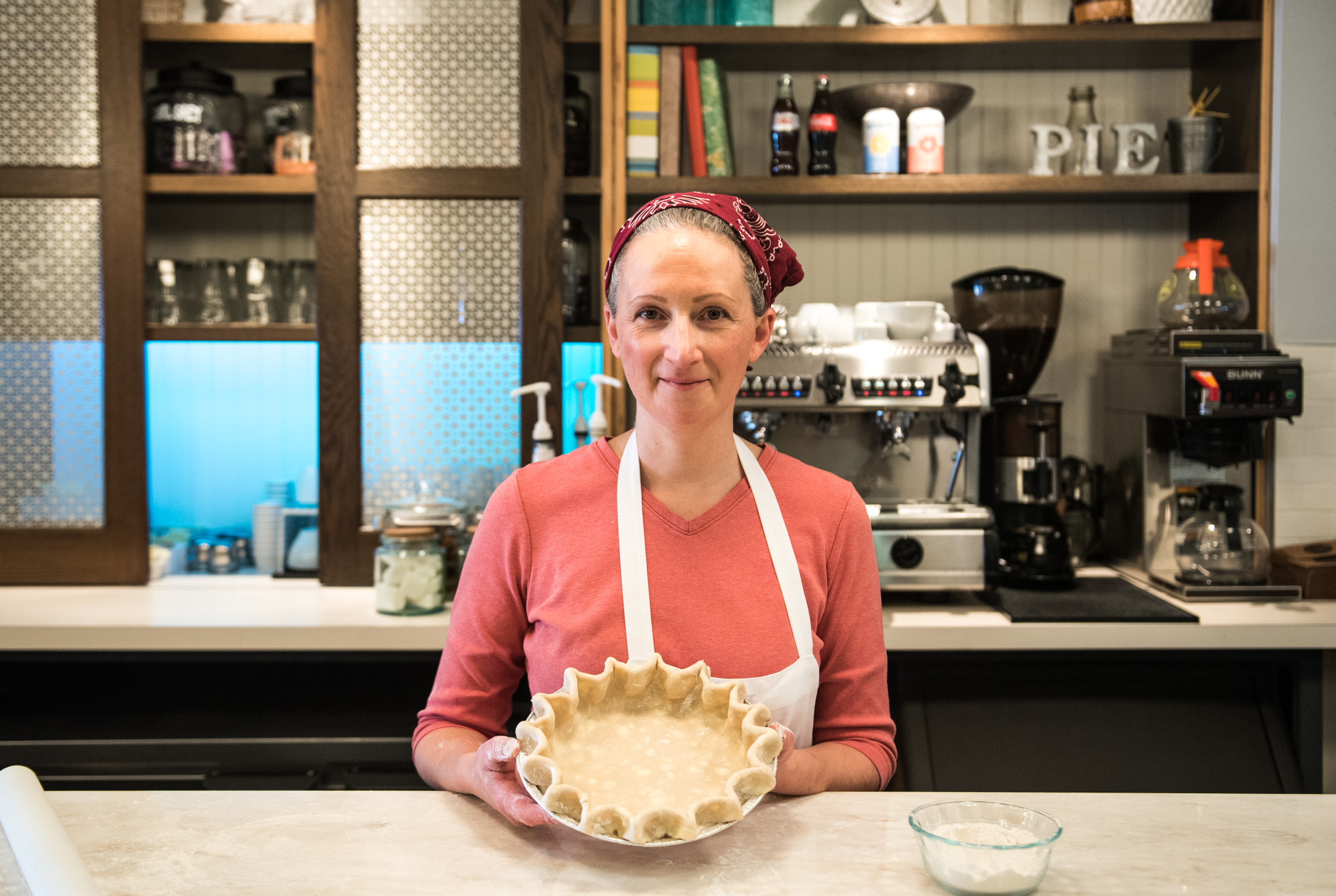 Magpie owner Holly Riccardi holds a pie crust ready for the oven. Riccardi notes that once the filling hits the crust, it´s important to start baking the pie immediately.