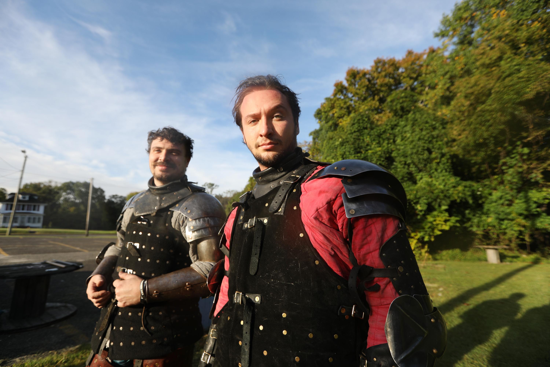 Logan Greer (R) and Sean Krachun wearing 15th Century armor of Italian knights.