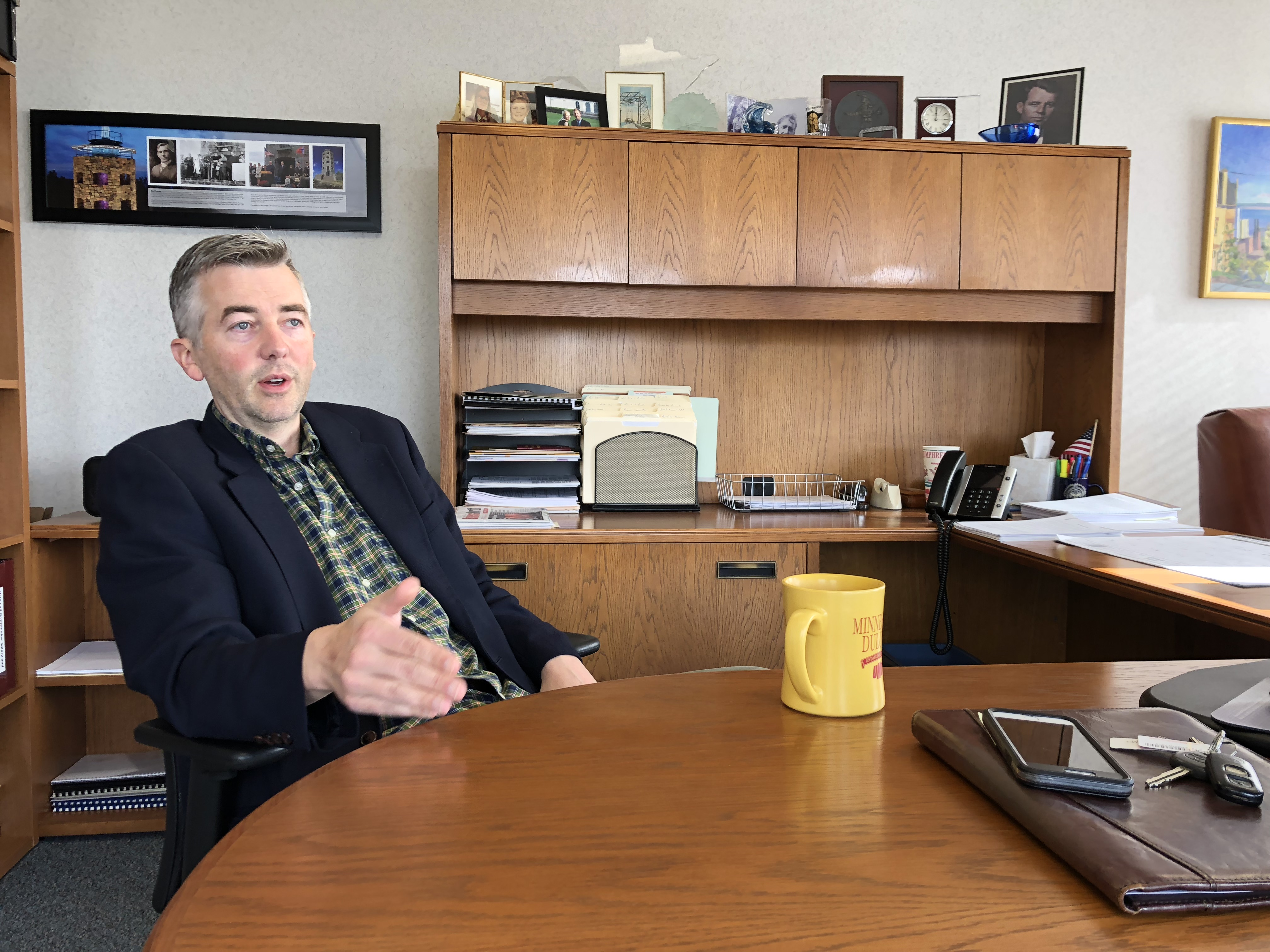 Don Ness, the former Democratic mayor of Duluth, Minn., speaks from his office in the city. Duluth is a liberal hub in Minnesota's Eighth Congressional district, one of the most competitive in the country.