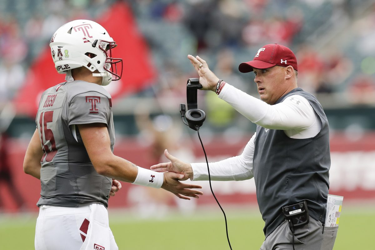 Temple Head coach Geoff Collins with quarterback Anthony Russo against East Carolina on Saturday, October 6, 2018. YONG KIM / Staff Photographer