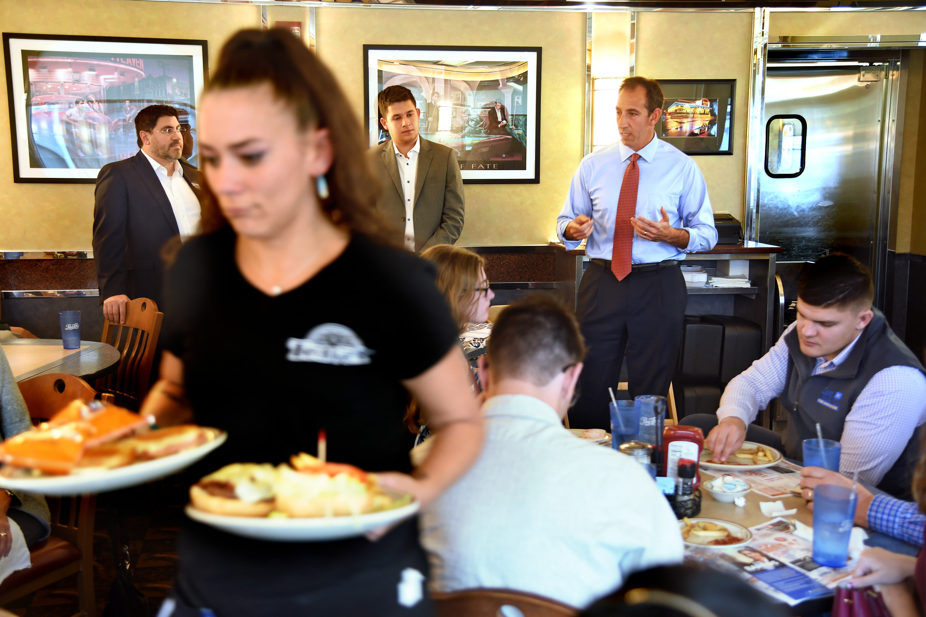 Bartos speaks to supporters at the Trivet Diner in Allentown.