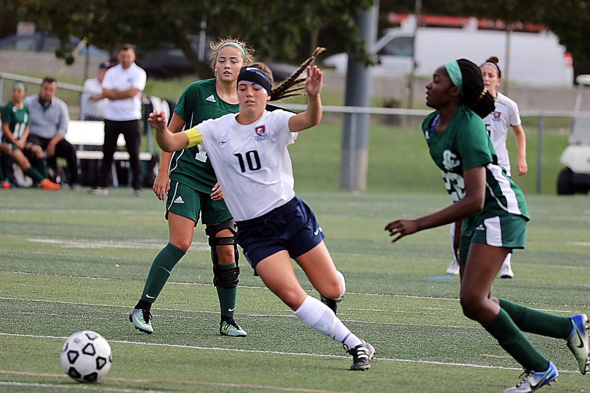 Eastern's Kelli McGroarty (10) chases the ball in a game against Camden Catholic on Sept. 28.
