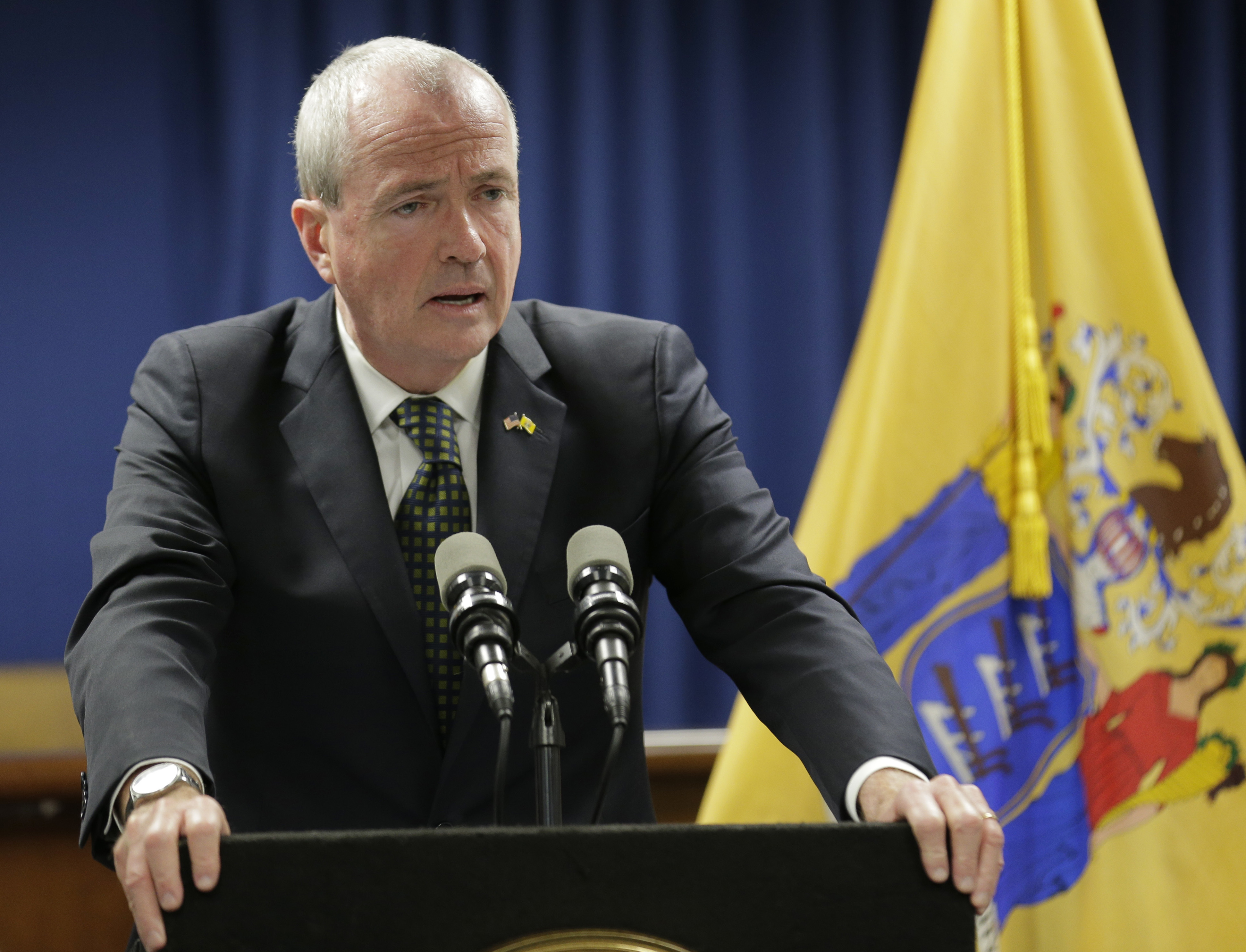 New Jersey Gov. Phil Murphy speaks to reporters in Newark, N.J., Monday, Oct. 15, 2018. A New Jersey state employee said Sunday she was sexually assaulted by a man who went on to work in Democratic Gov. Phil Murphy´s administration and tried for a year to get authorities to take action but with no result.