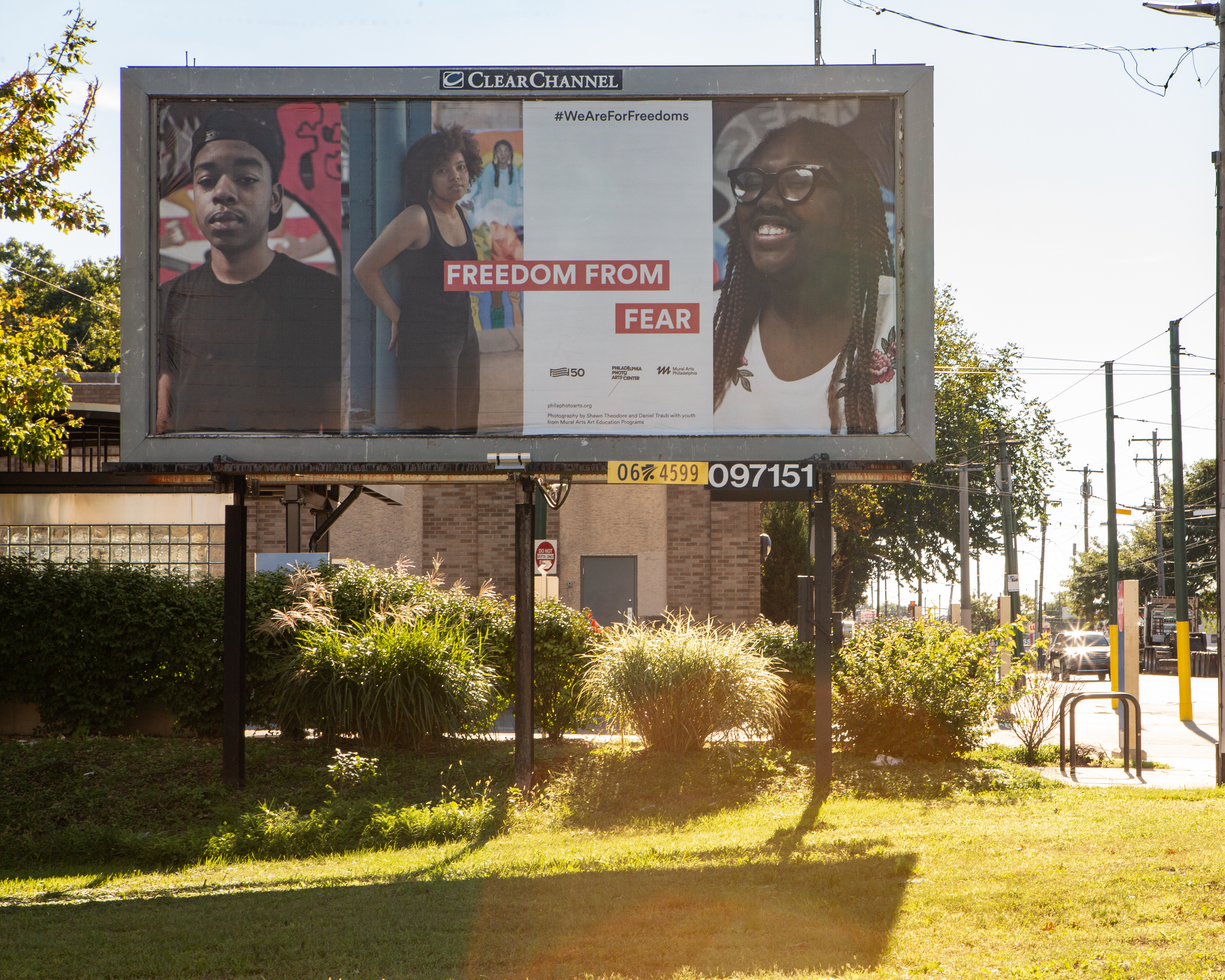 Freedom from Fear, Mural Arts Program billboard done in partnership with the For Freedoms initiative. Photo: Mural Arts Program
