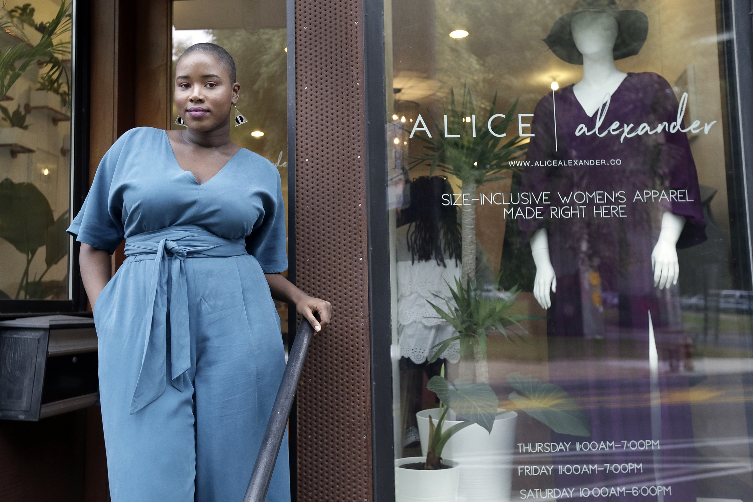 Melonee Rembert is wearing The Mae Jumpsuit at Alice Alexander, a new made to order plus size boutique, in East Falls on October 19, 2018. ELIZABETH ROBERTSON / Staff Photographer