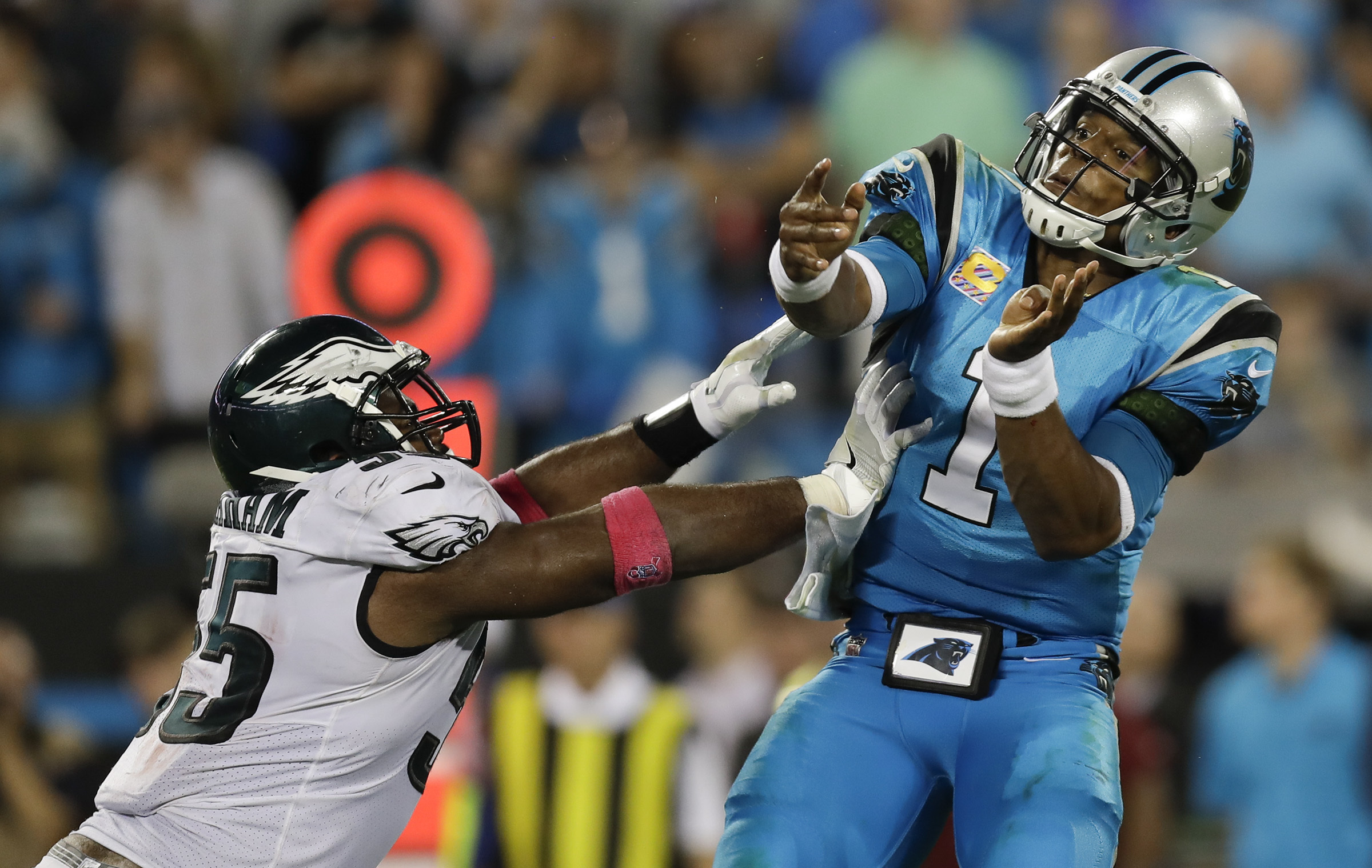 Eagles defensive end Brandon Graham pressures Carolina Panthers quarterback Cam Newton on Thursday, October 12, 2017 in Charlotte, NC. YONG KIM / Staff Photographer