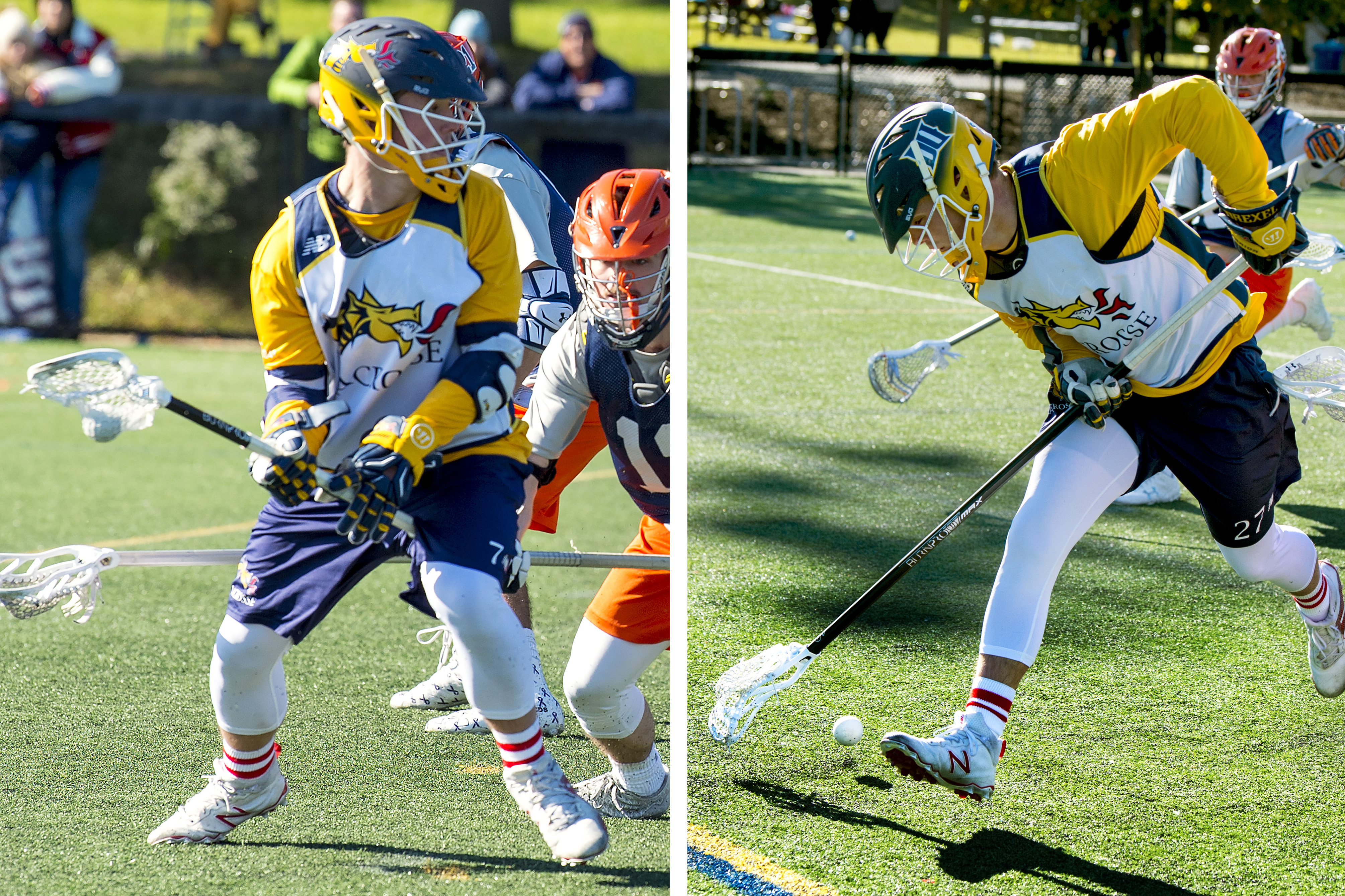 Drexel players Nick Fox (left) and Nolan Fox in action Sunday at the University City Classic.