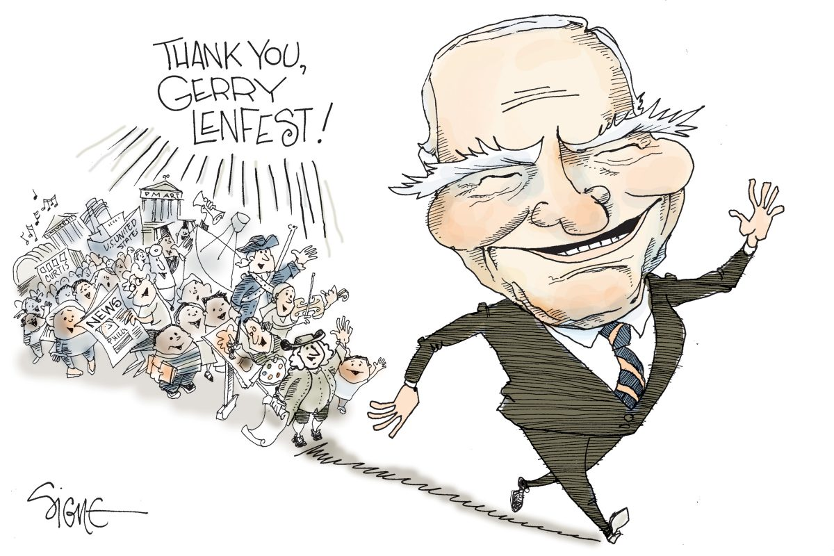 Signe cartoon for Gerry Lenfest section