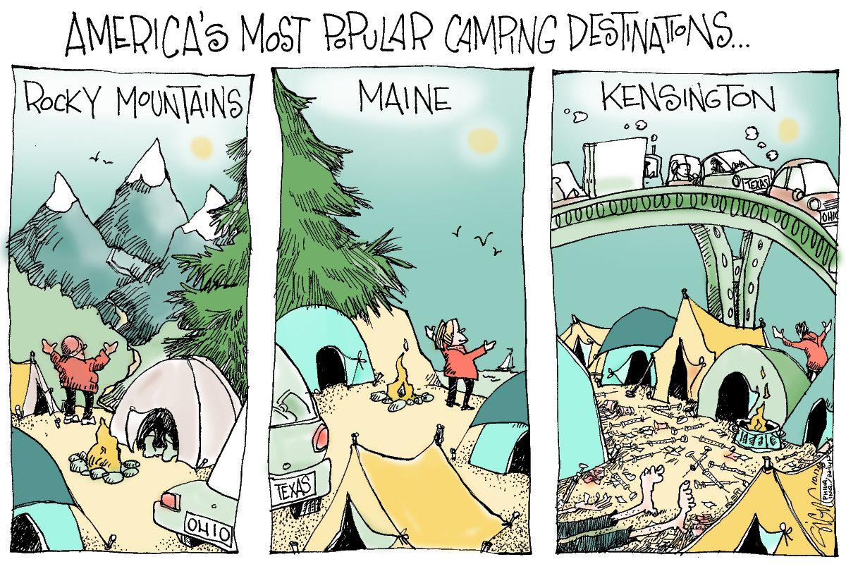 Signe Wilkinson cartoon du jour SIGN17e Camping Kensington