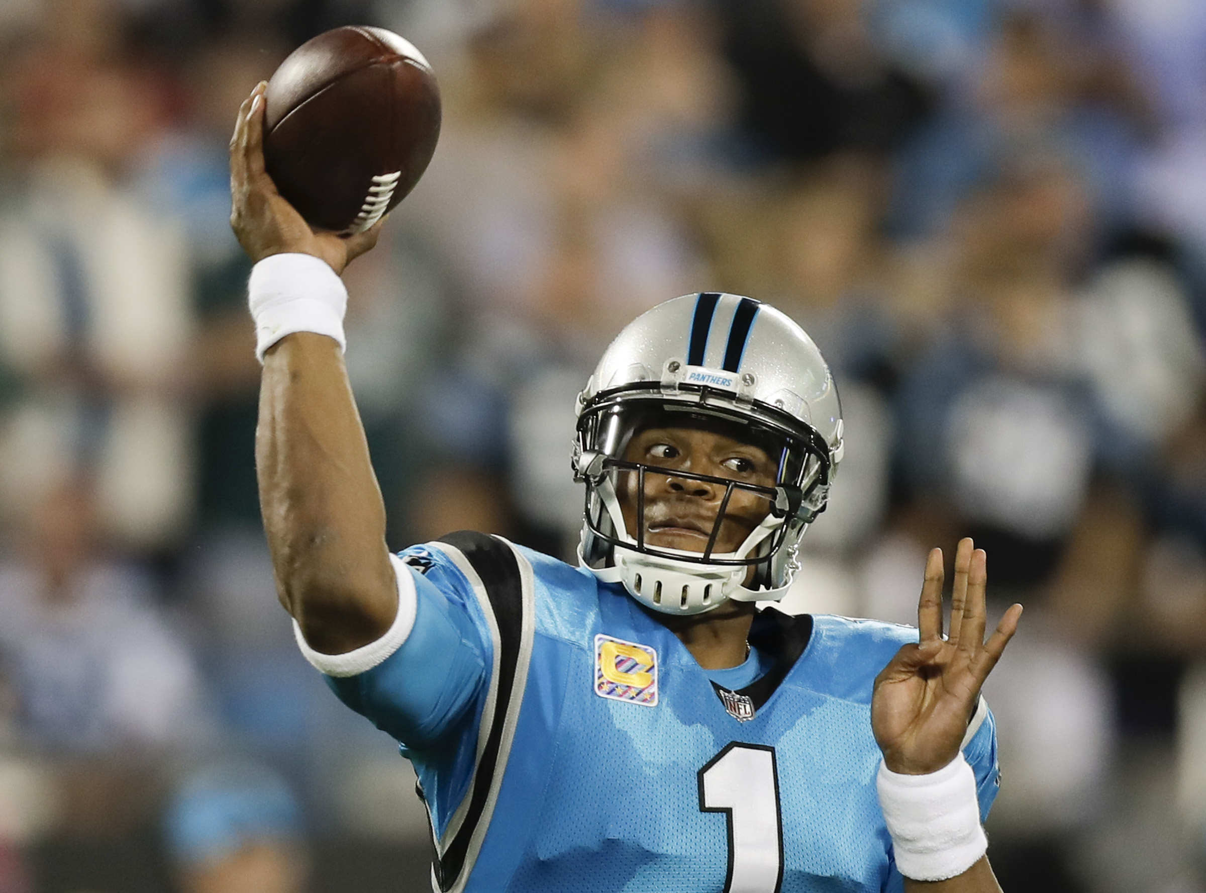 Carolina Panthers quarterback Cam Newton throws the football against the Eagles on Thursday, October 12, 2017 in Charlotte, NC.