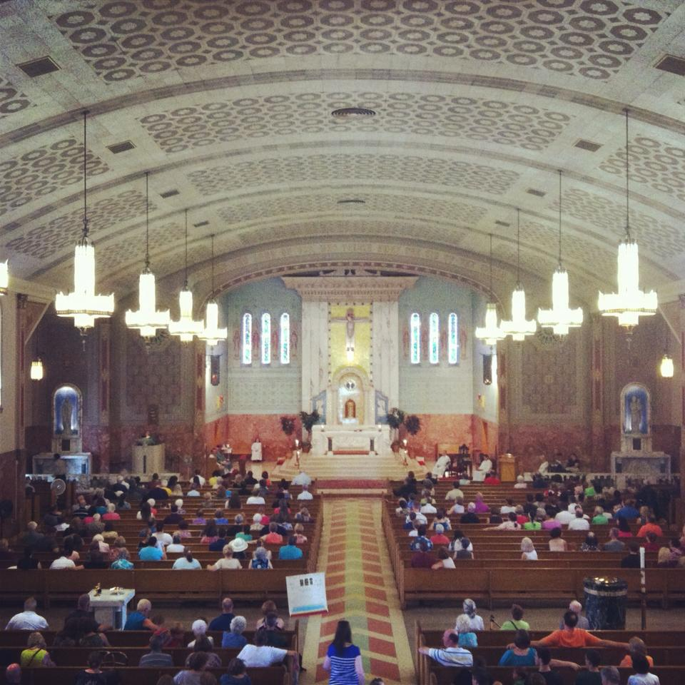 The last official Mass before St. Cyril of Alexandria church in East Lansdowne, PA ended the multiple Masses each week and cut it down to Sunday mornings. This was taken from the balcony where the choir once sang.