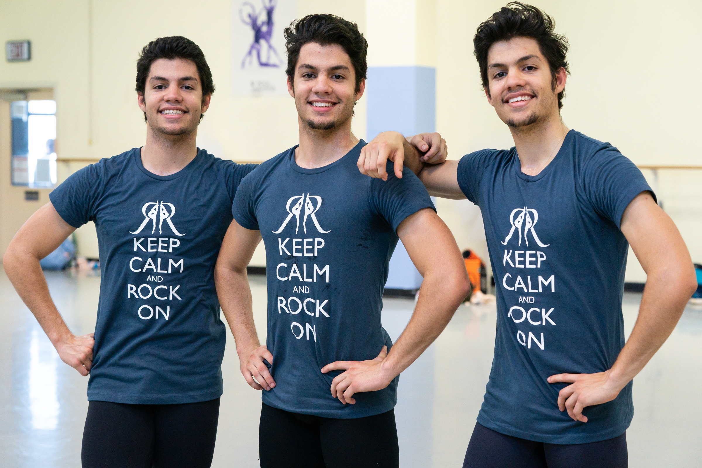 Triplets (from left) César, Marcos, and Angel Ramirez, study ballet at the Rock School for Dance Education.