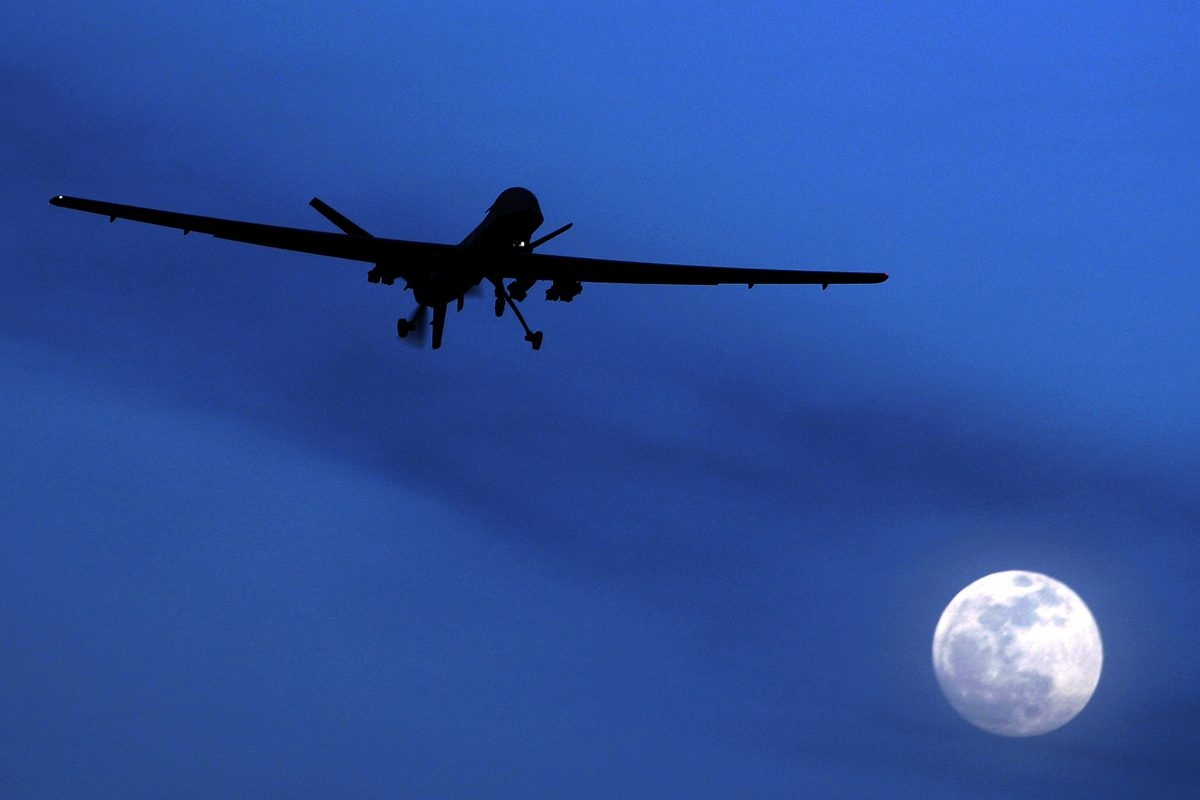 An unmanned U.S. Predator drone flies over Kandahar Air Field, southern Afghanistan, in 2010.