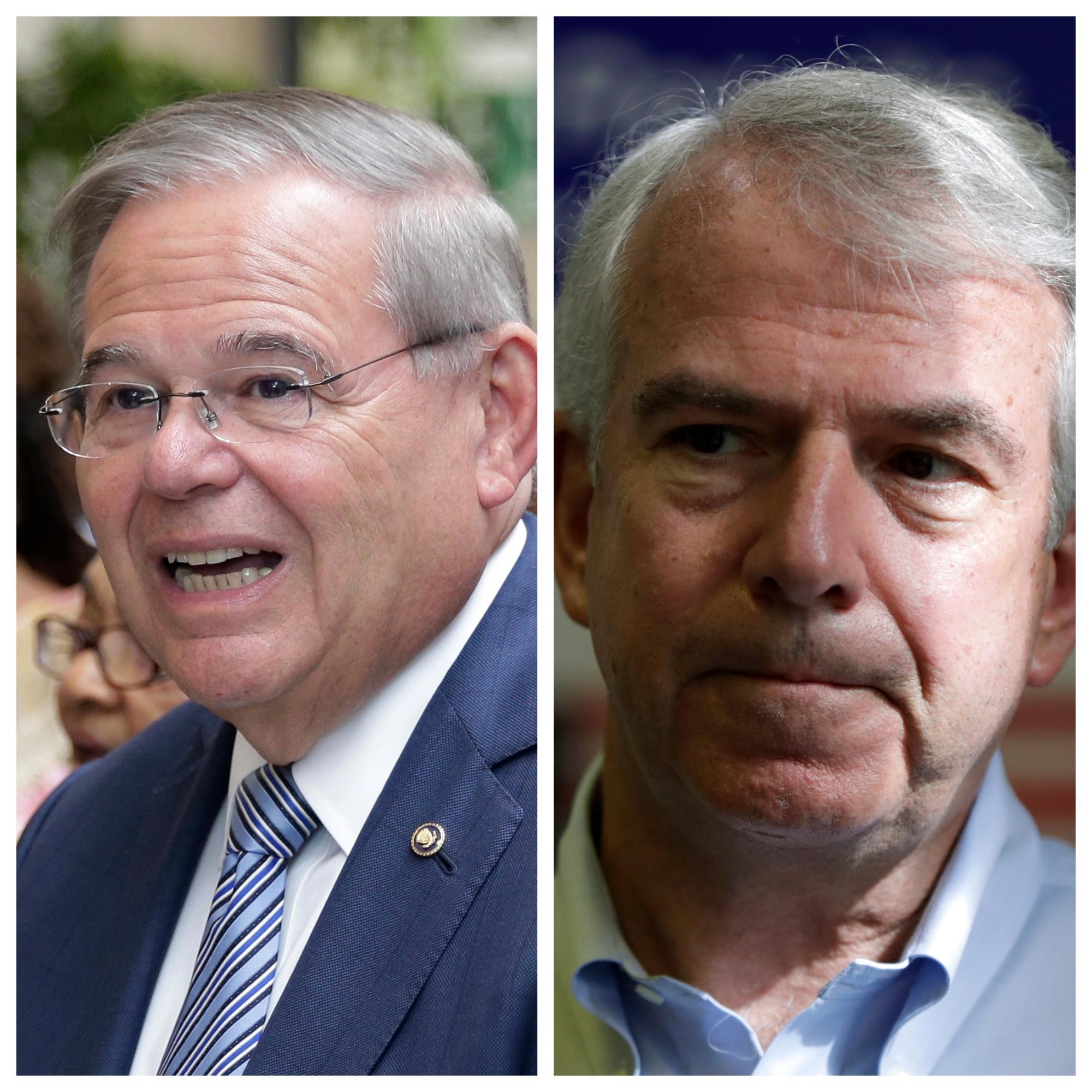 New Jersey Sen. Bob Menenedez, Democratic incumbent, at left. Republican challenger Bob Hugin at right.