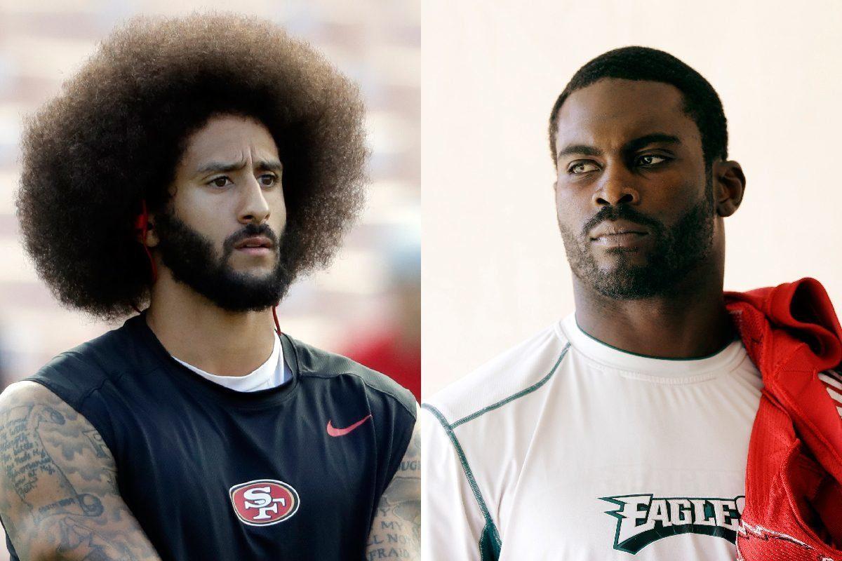 """Free agent quarterback Colin Kaepernick (left) need to """"cut his hair"""" if he wants a job, according to ex-Eagles quarterback Michael Vick."""