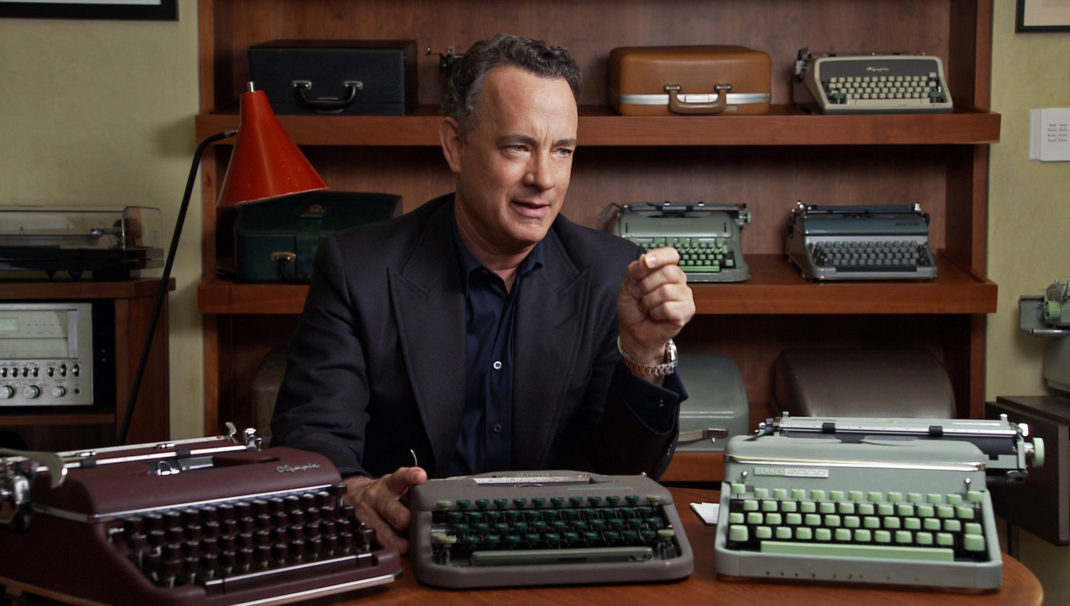 """""""California Typewriter"""": Tom Hanks. Documentary focuses on California Typewriter in Berkeley, Calif., one of the few remaining repair shops in America and the artists, writers, and collectors who remain steadfastly loyal to the typewriter (including Tom Hanks, John Mayer, David McCullough, Sam Shepard)."""