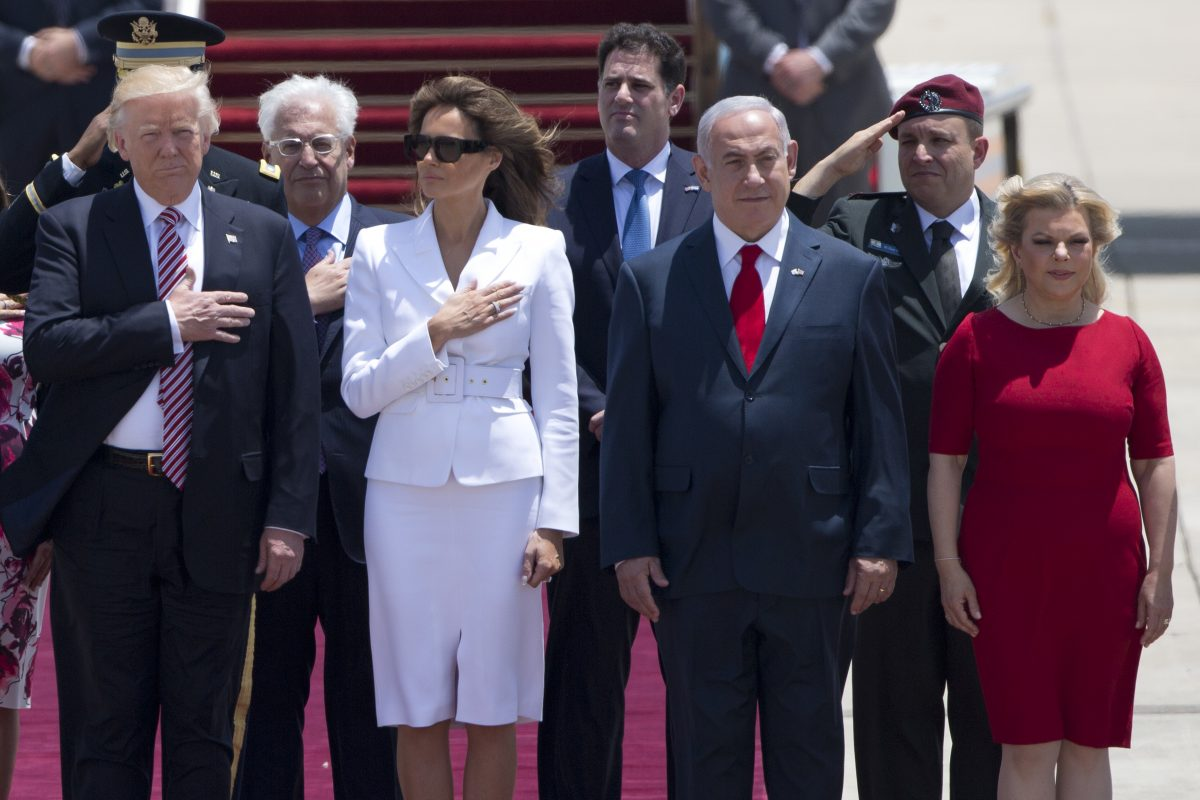 President Trump and his wife Melania with Israeli Prime Minister Benjamin Netanyahu and his wife Sara  during the welcoming ceremony in Tel Aviv, on Monday, May 22,2017.