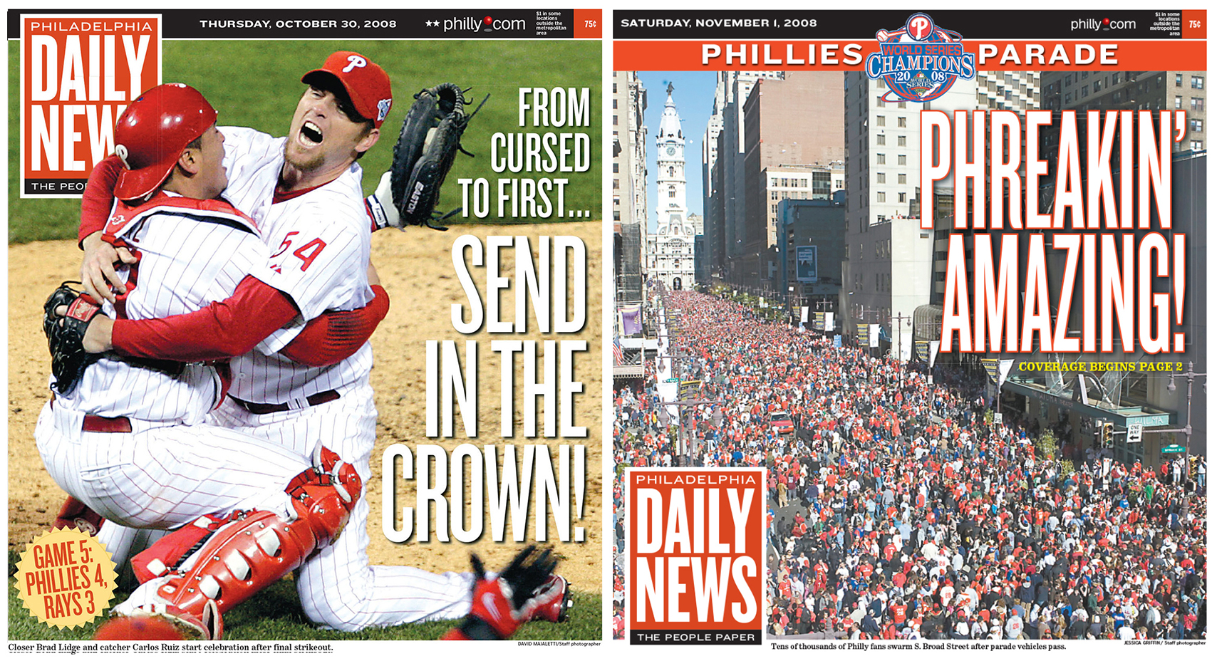 The Oct. 30, 2008 cover of the Daily News (left) and the Nov. 1, 2008 cover of the Daily news.