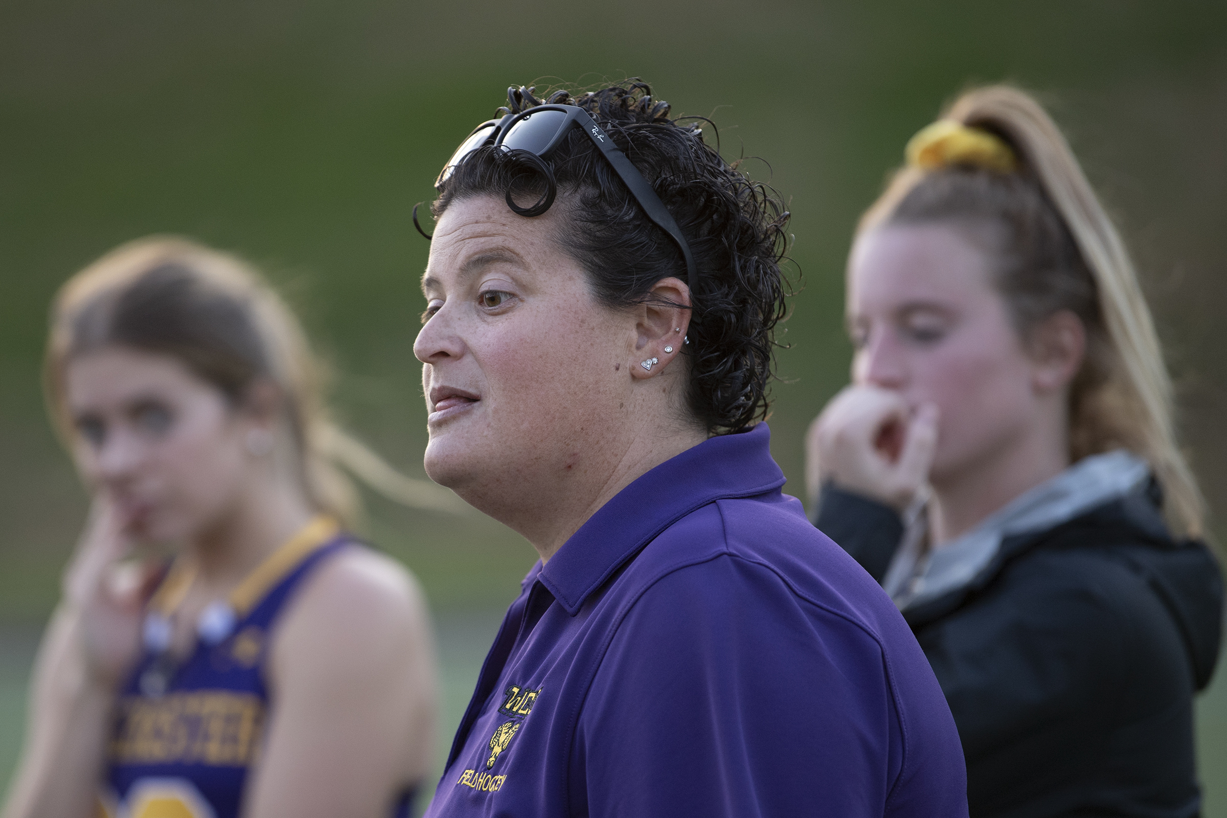 Amy Cohen gives instructions to her players during a game against East Stroudsburg.