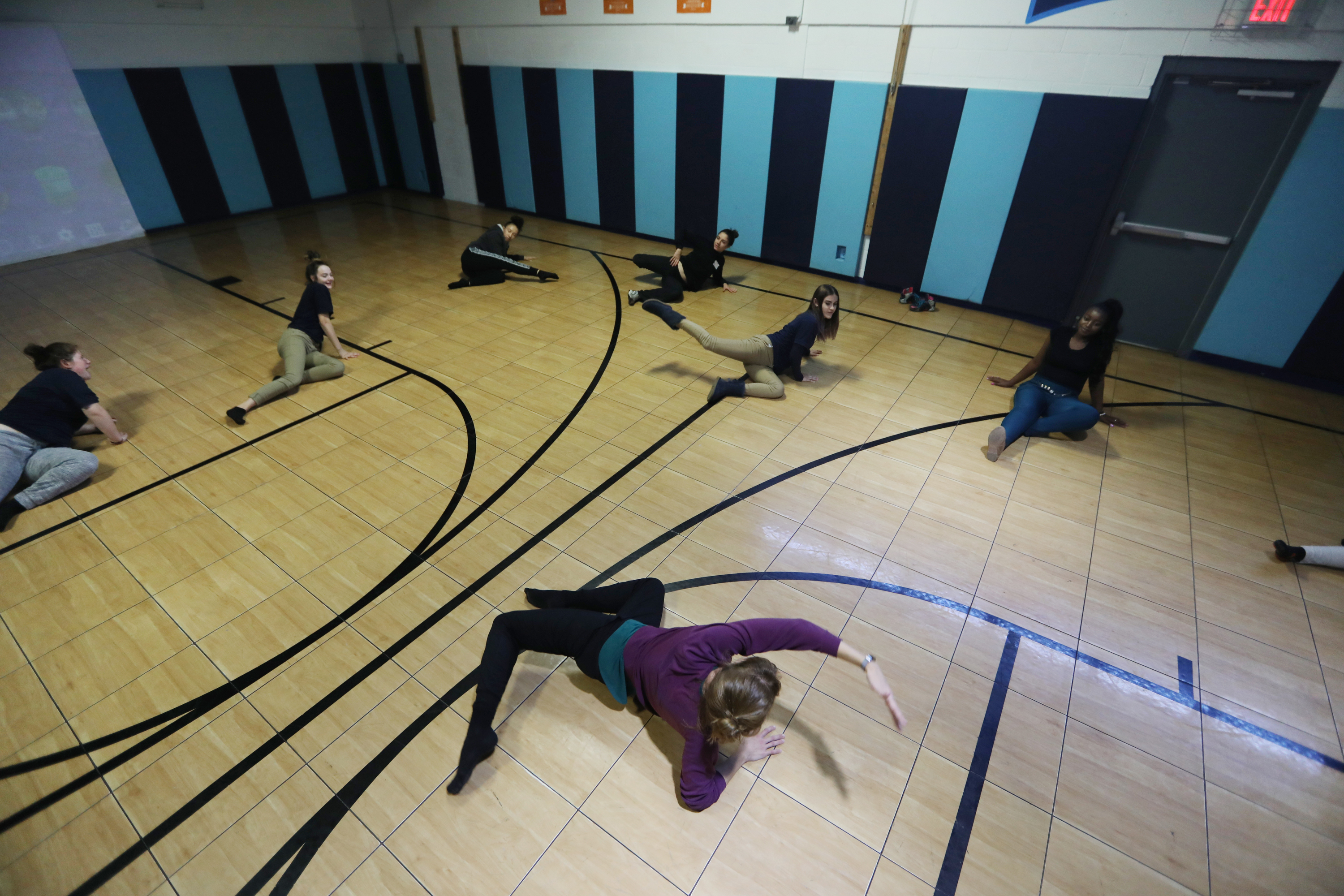 Erin Carlisle Norton of Moving Architects dance troupe works with students at Valley Day School.