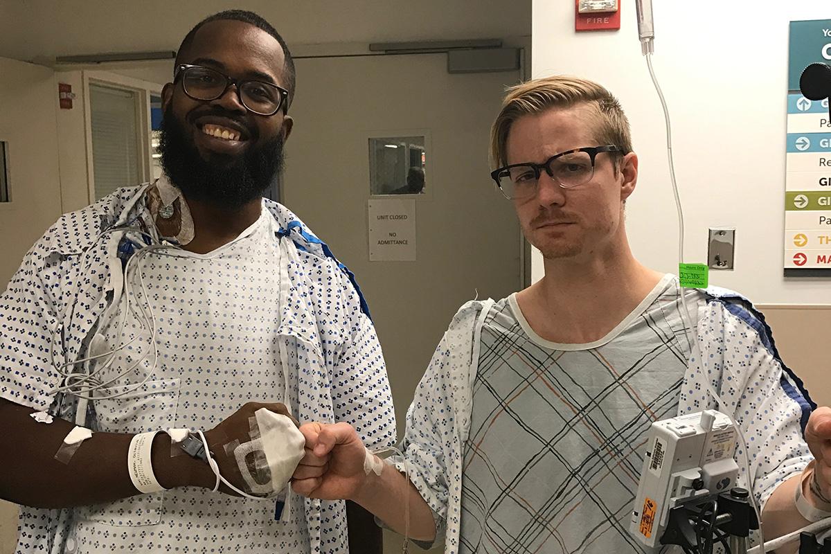 Adam, right, and Octavius before Adam donated his kidney.