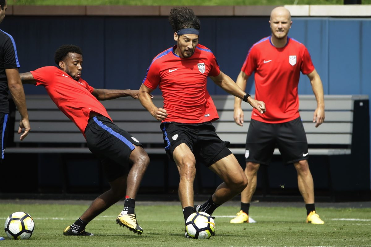 The United States men's national soccer team's Omar Gonzalez (center), Kellyn Acosta (left) and Michael Bradley (right) at a practice Tuesday ahead of Wednesday's CONCACAF Gold Cup quarterfinal game against El Salvador at Lincoln Financial Field.