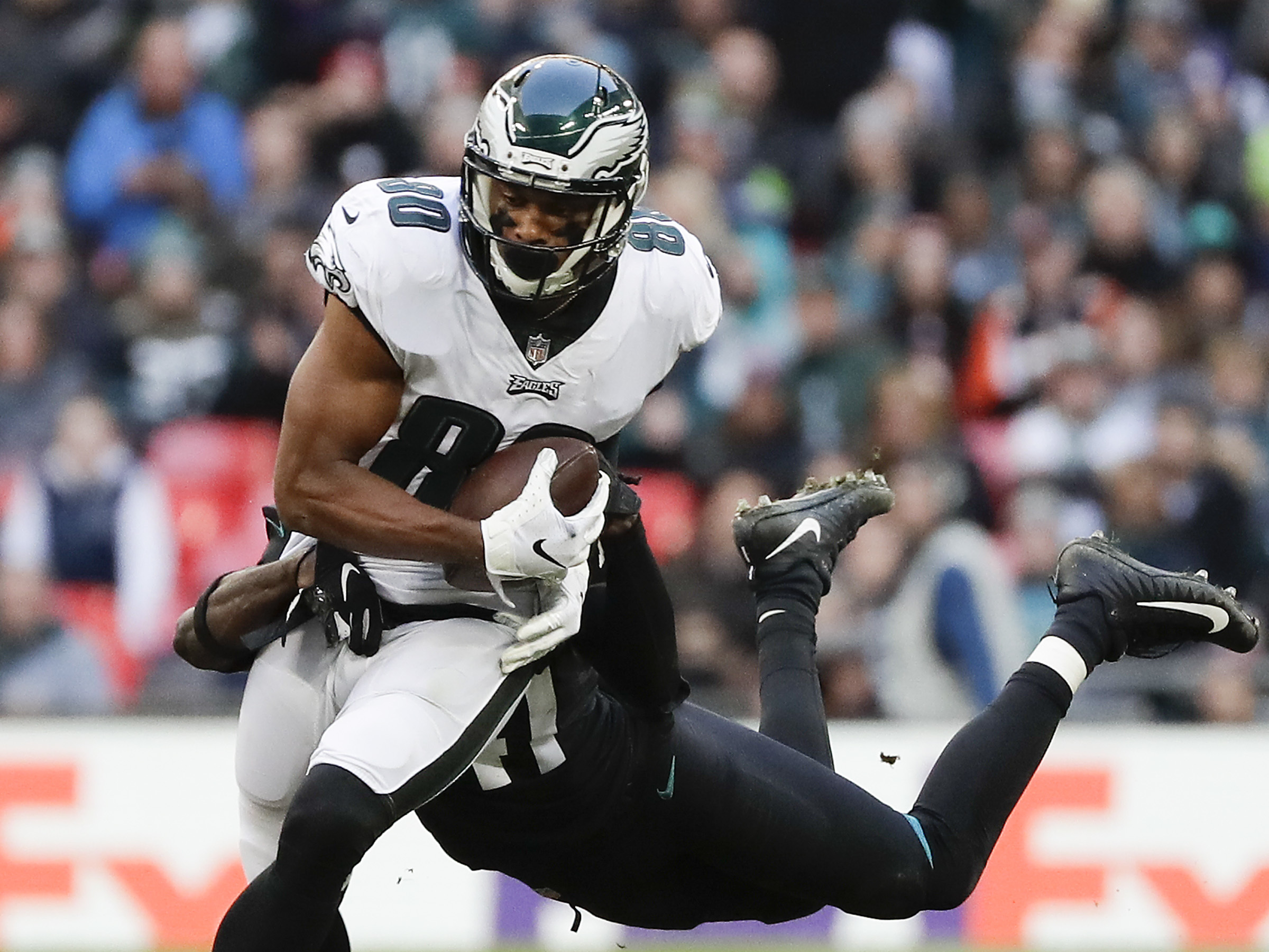 Jordan Matthews runs past Jaguars cornerback Tre Herndon during the fourth quarter on Sunday.