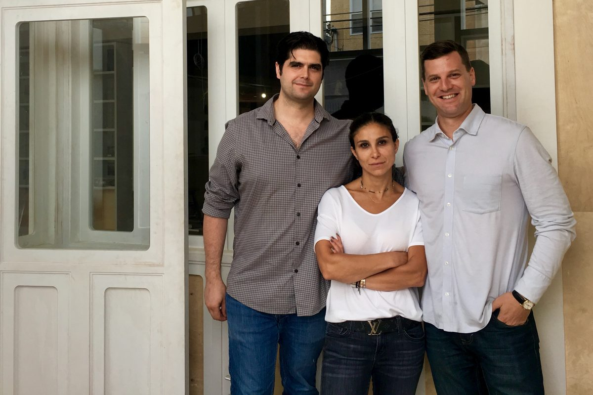 Outside Suraya at 1526 Frankford Ave. are (from left) chef Nick Kennedy, Nathalie Richan, and Greg Root.