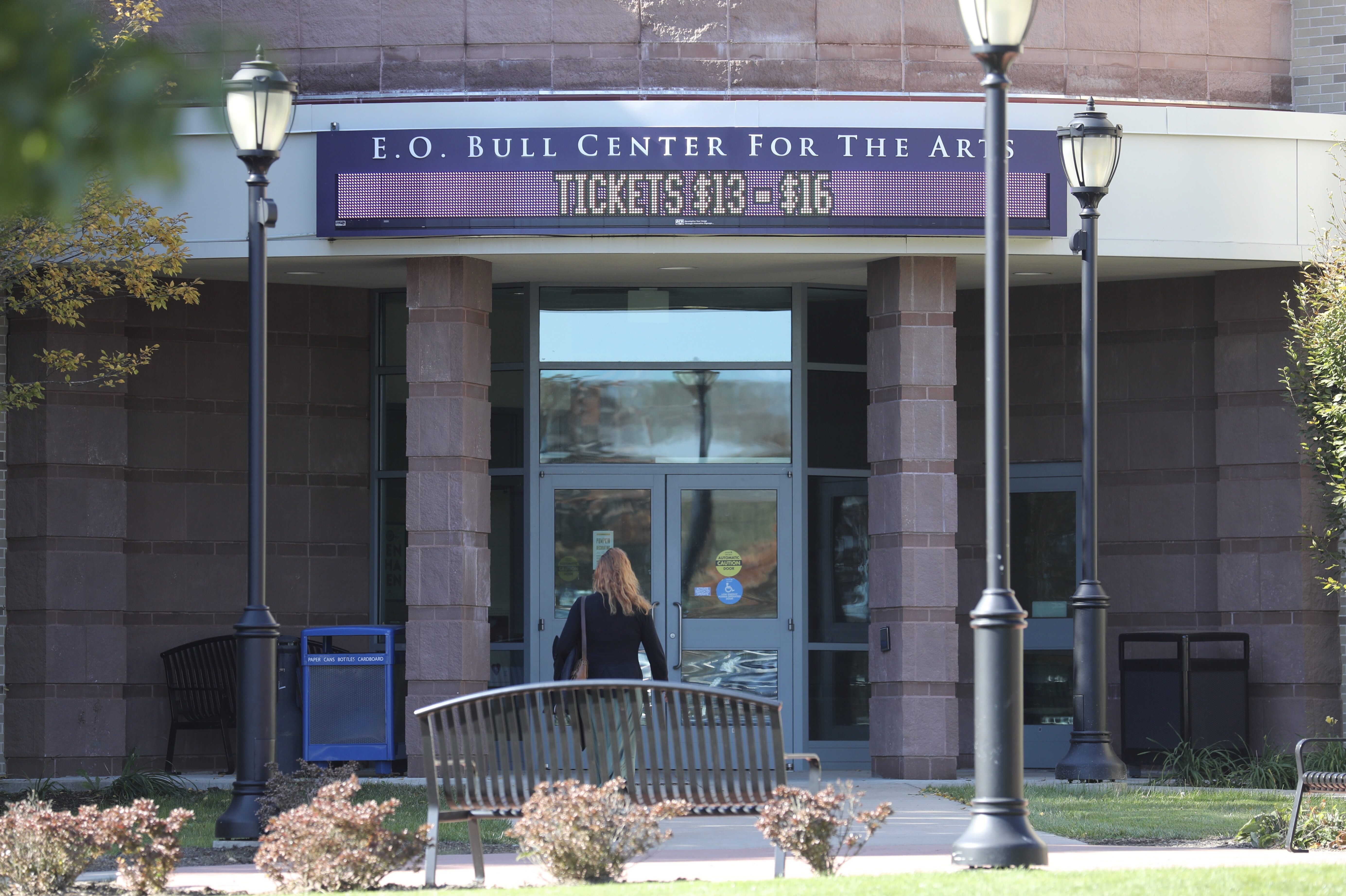 A bathroom in the E.O. Bull Center for the Arts at West Chester University is one of the places Joshua Yannuzzi is accused of hiding his cell phone.