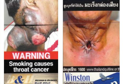 Cigarette package warnings from India and Thailand.