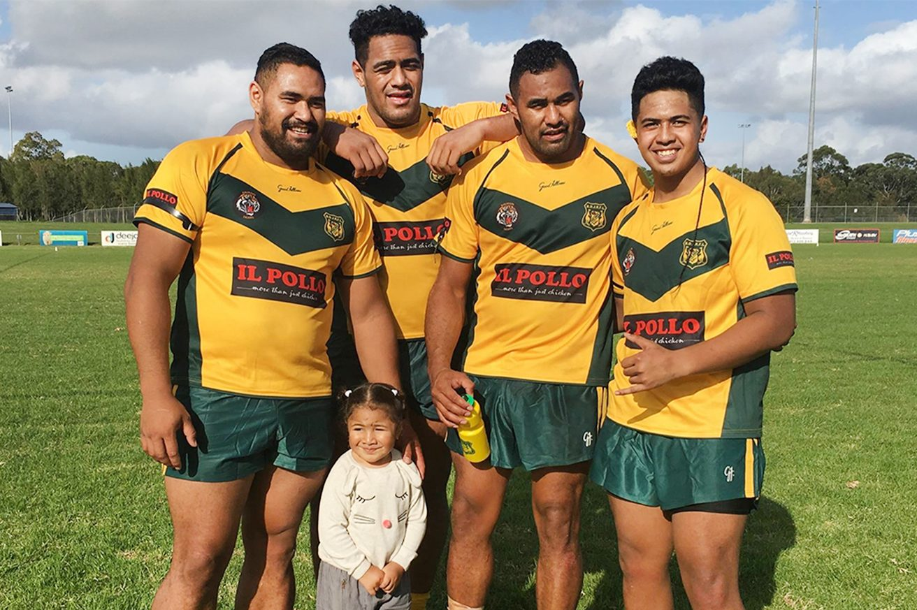 Rugby is a family affair for the Mailatas. Jordan (second from left) poses with his brothers in 2016 while the crew was playing for a local rugby club. From left to right: Daniel, Jordan, Moana and Oshan, a family friend. Also featured is Jordan´s niece, Eraia.