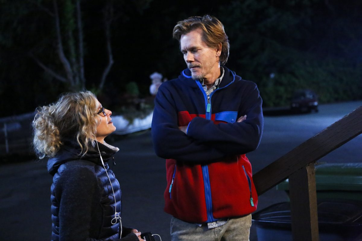 "Director Kyra Sedgwick (left) and her actor husband Kevin Bacon on the set of Lifetime's ""Story of a Girl,"" which premieres Sunday"