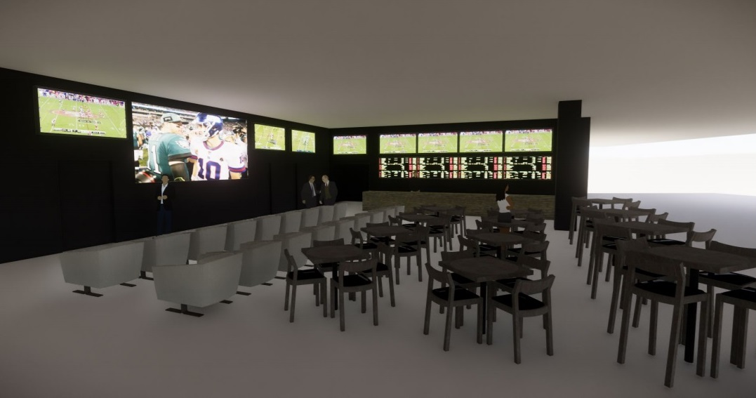 An artist´s depiction of the SugarHouse temporary sportsbook.