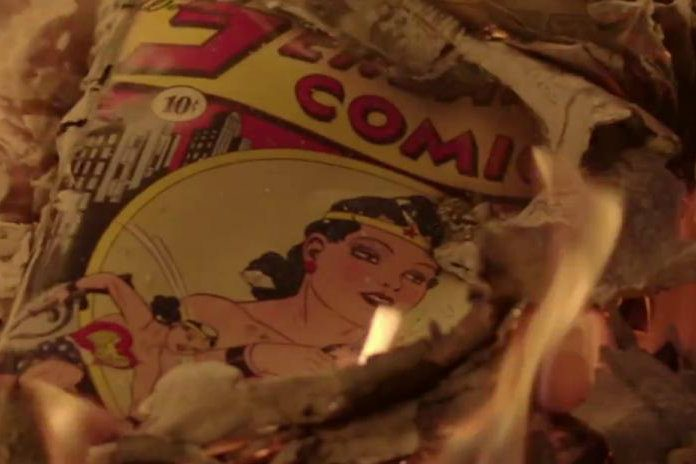 "A Wonder Woman comic from the movie ""Professor Marston and the Wonder Women."""