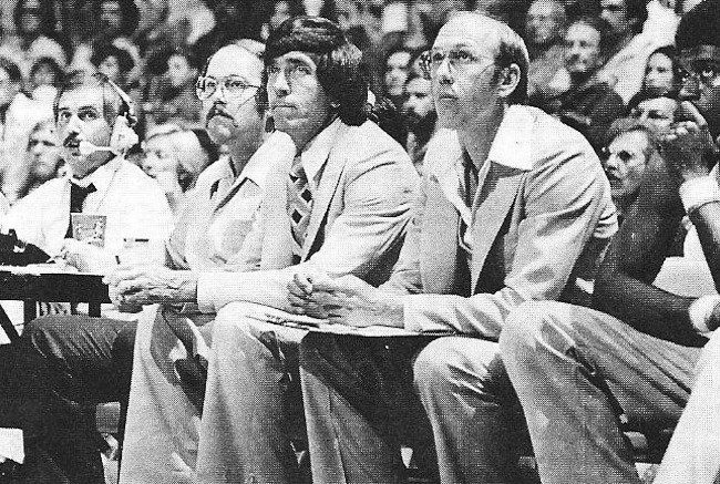 Ralph Lawlor, left, in his first season with the Clippers, 1978-79. The head coach is Gene Shue and, on his left, assistant coach Bob Weiss.