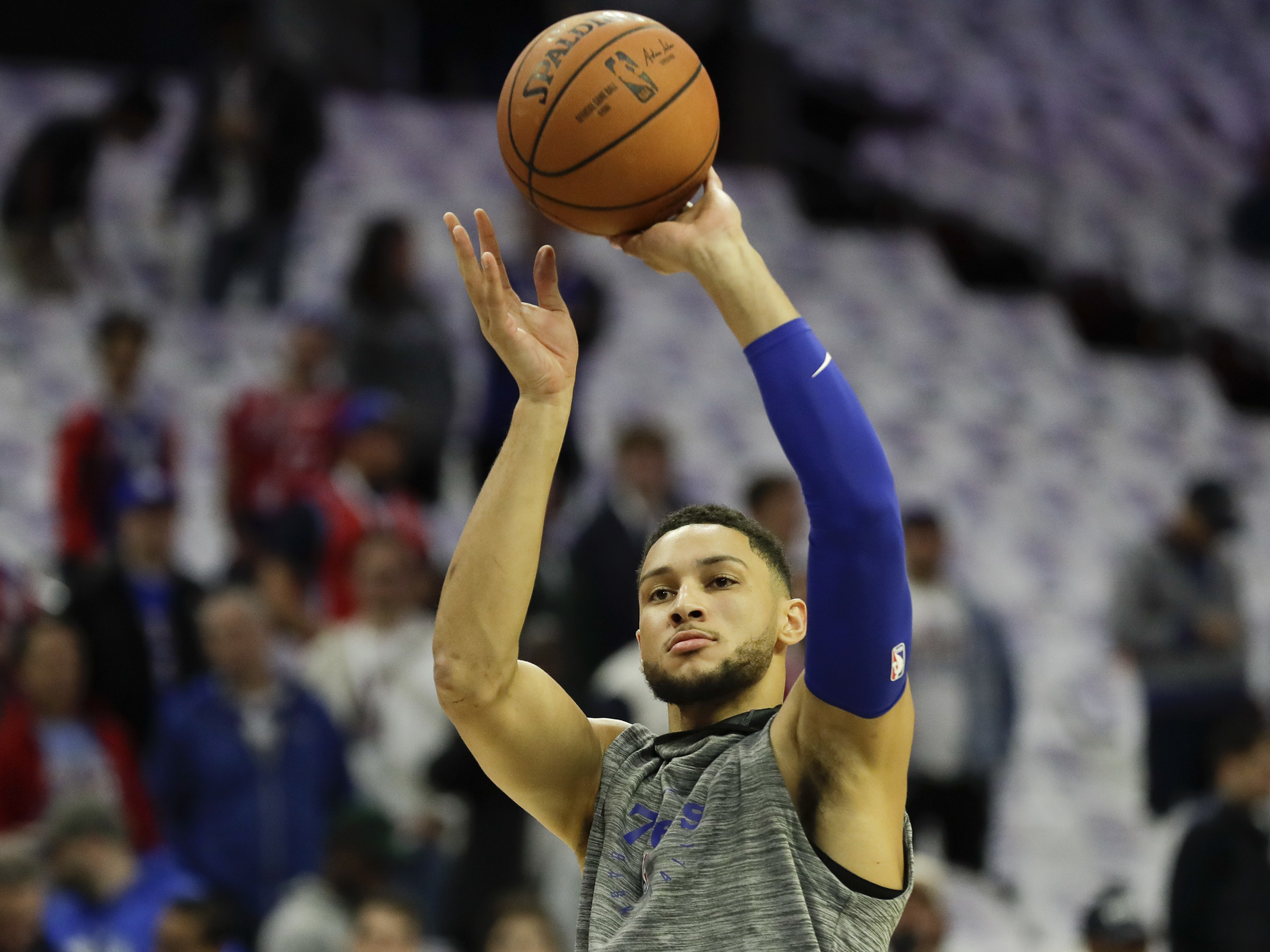 Sixers guard Ben Simmons shoots the basketball during warm-ups before the Sixers play the Chicago Bulls on Thursday, October 18, 2018 in Philadelphia.