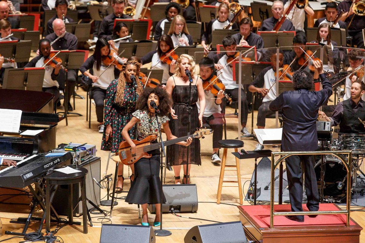 Esperanza Spalding performs at the Kimmel Center with the Philadelphia Orchestra and Carnegie Hall's NYO2 youth orchestra, with Giancarlo Guerrero conducting.