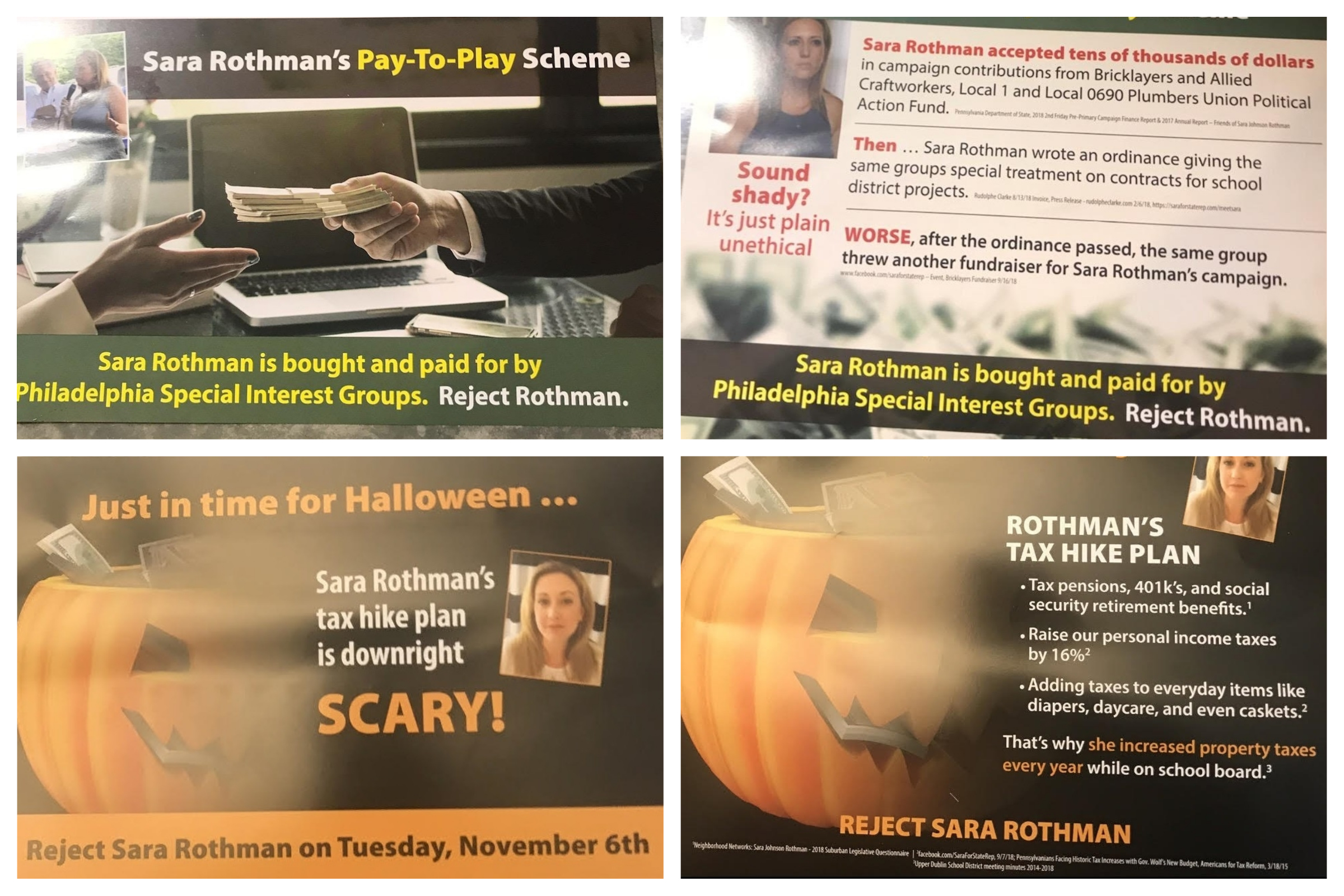Mailings paid for by the Pennsylvania Republican Party only refer to Sara Johnson Rothman as Sara Rothman.