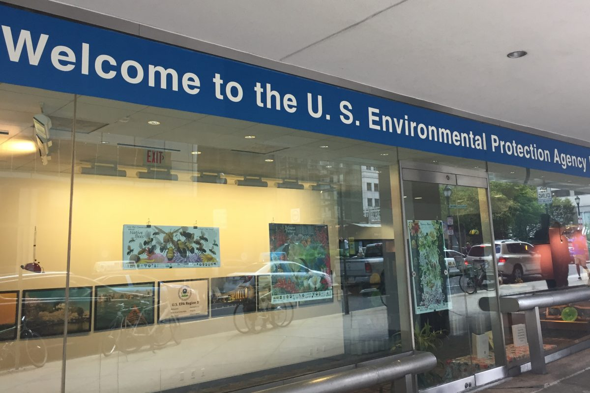 A display at the EPA Region 3 offices at 16th and Arch Streets.