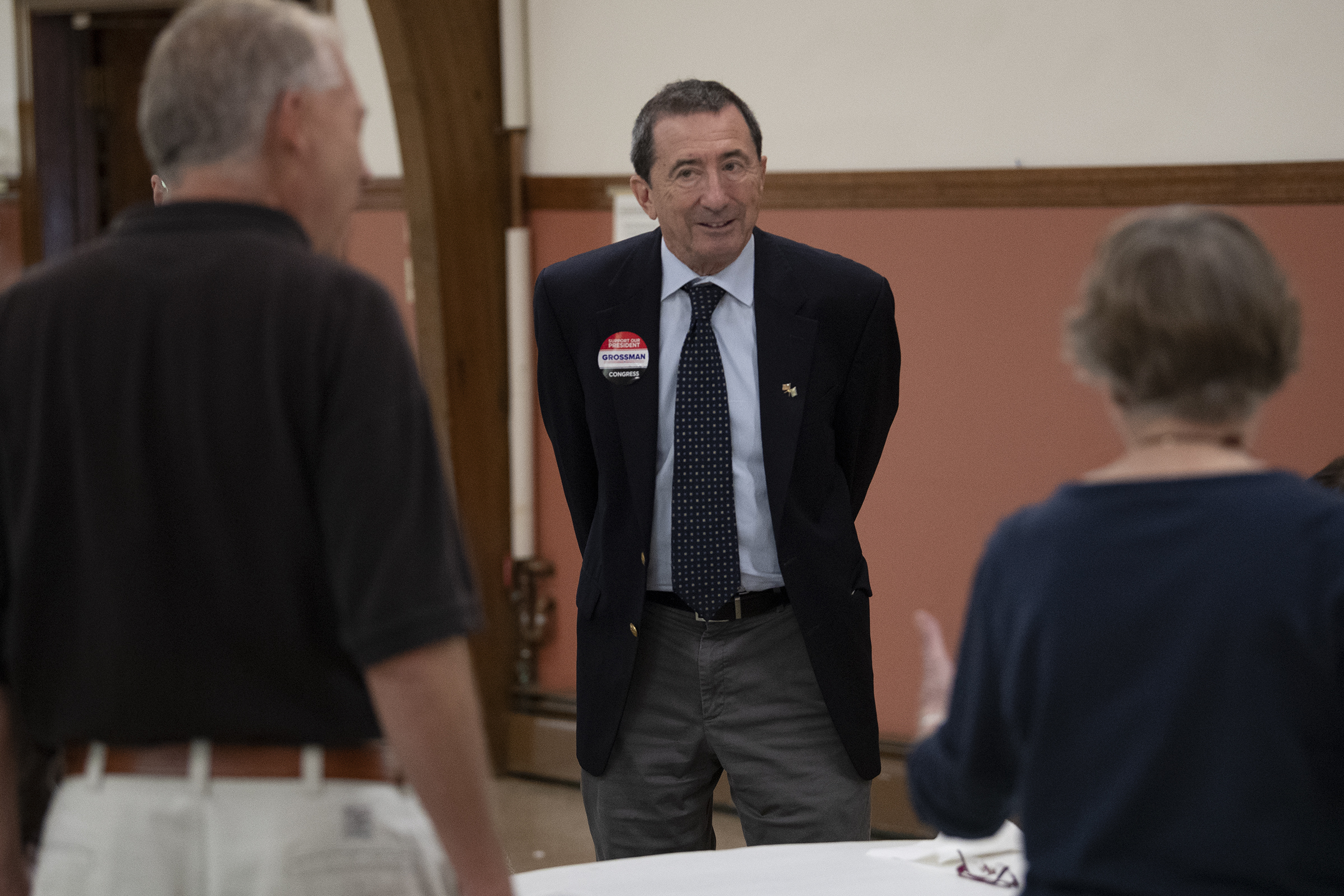New Jersey 2d district Congressional Candidate Seth Grossman, center, present his platform to Somers Point resident at the Christ Episcopal Church in Somers Point, N.J. Thursday, October 11, 2018. JOSE F. MORENO / Staff Photographer
