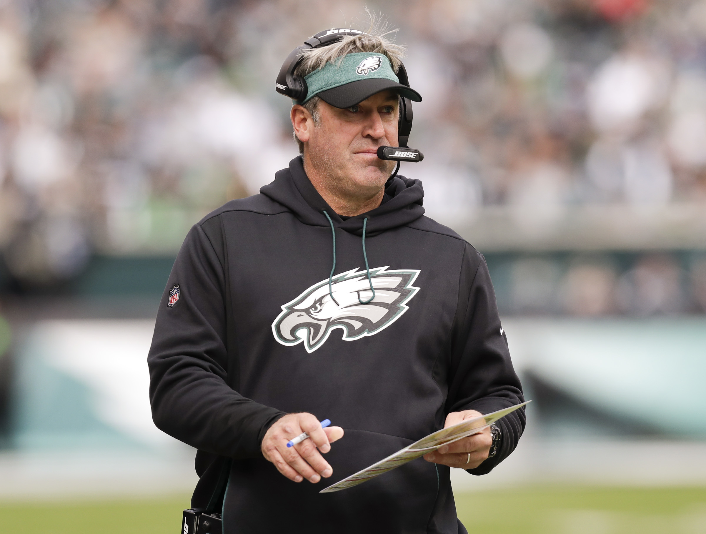 Eagles coach Doug Pederson during the game against the Panthers.
