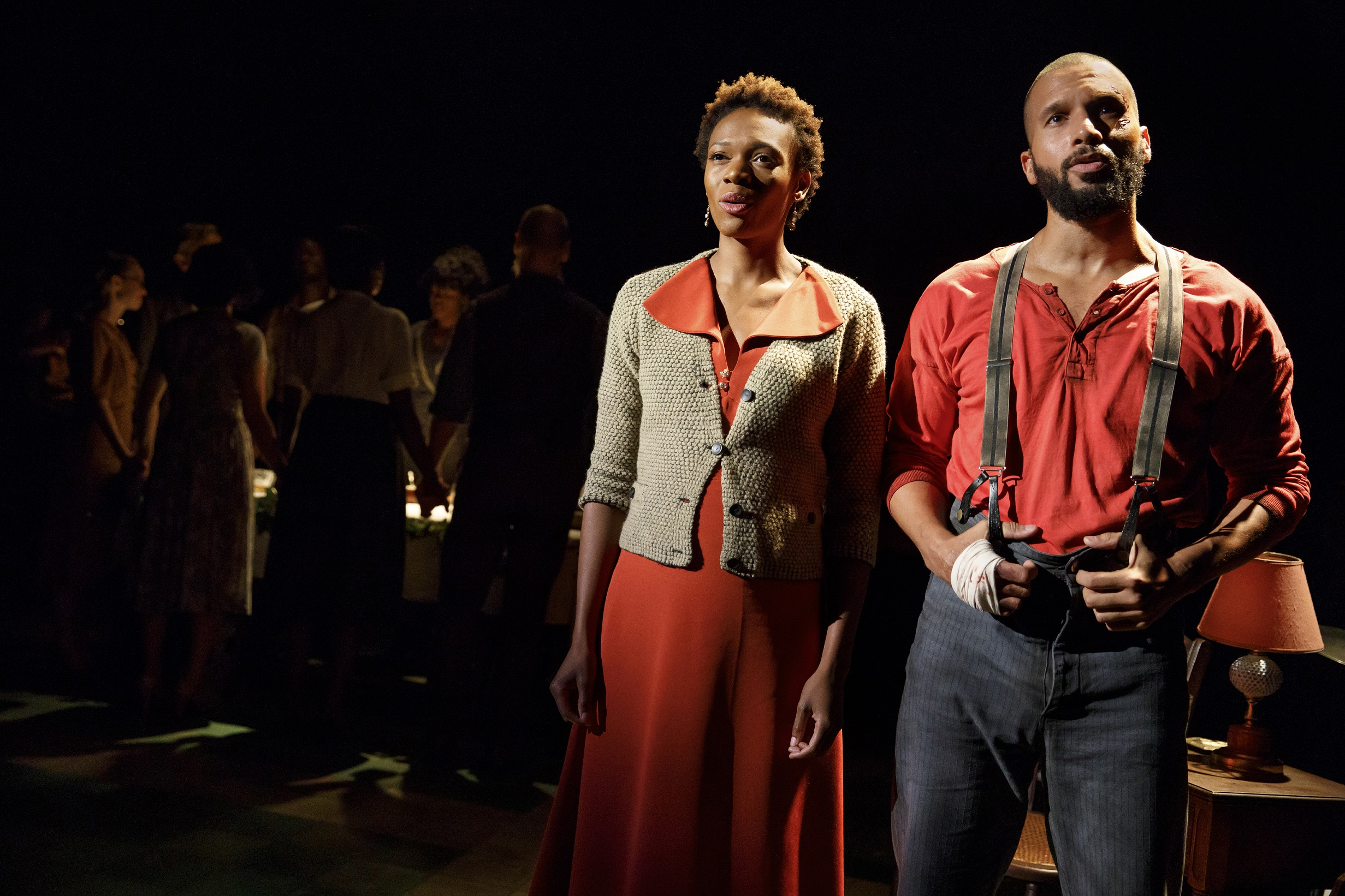 Kimber Sprawl and Sydney James Harcourt (foreground) and the company of Girl from the North Country, written and directed by Conor McPherson, with music and lyrics by Bob Dylan, running at The Public Theater. Photo Credit: Joan Marcus.