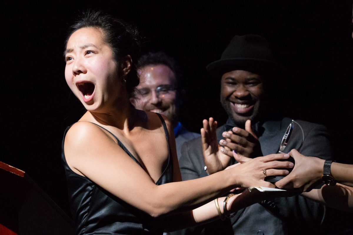 At last year's Barrymore Awards ceremony: actress Bi Jean Ngo receiving the F. Otto Haas Award, with Peter Haas and Akeem Davis (right).