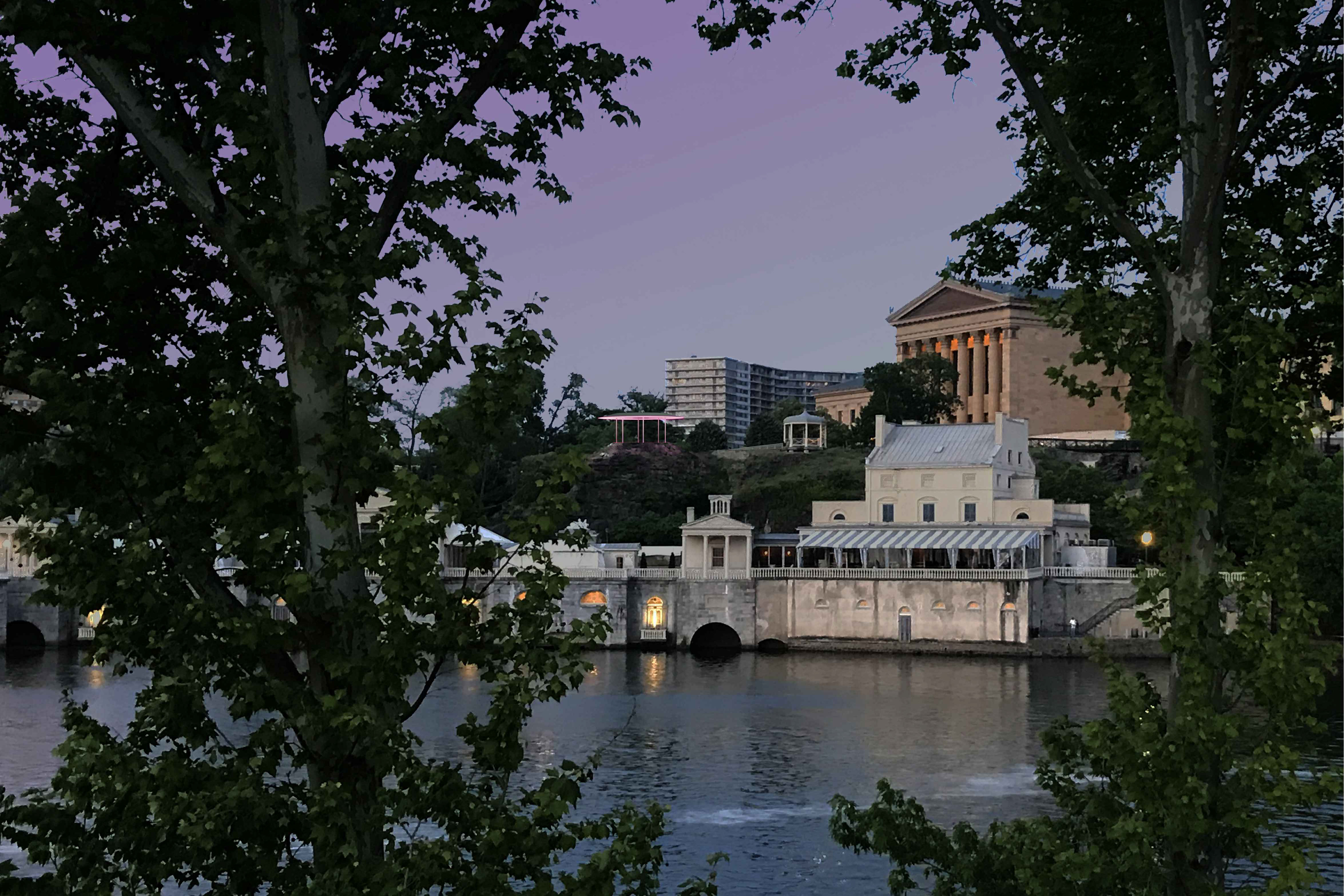 This photo illustration provided by KSK Architects shows the proposed placement of the proposed James Turrell Skyspace on the rocky outcrop next to the Philadelphia Museum of Art.